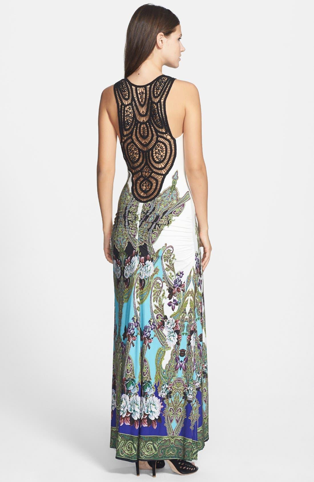 Alternate Image 2  - Sky 'Golubisa' Print Crochet Back Jersey Maxi Dress