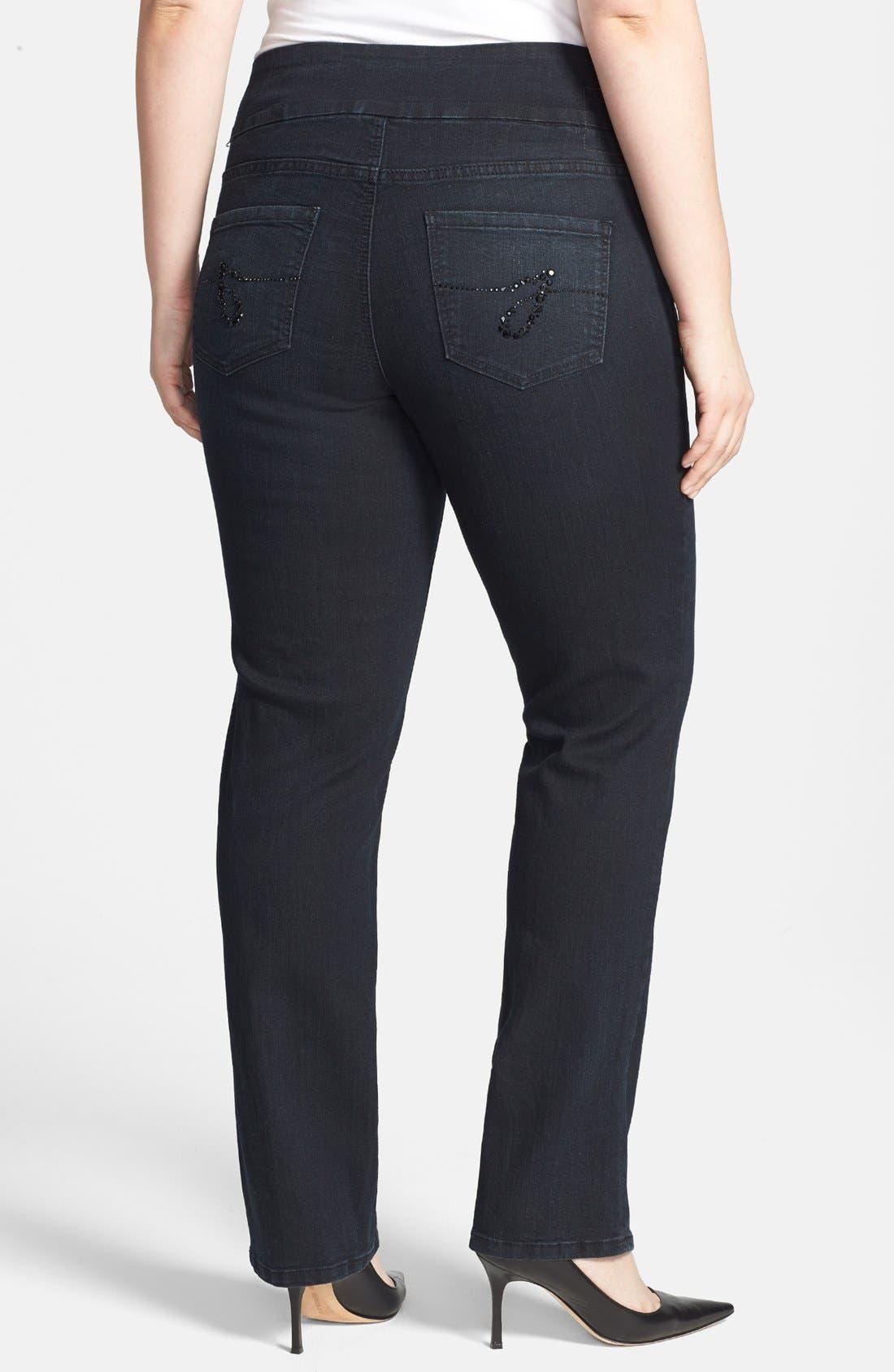 Alternate Image 2  - Jag Jeans 'Mila' Embellished Back Pocket Pull-On Straight Leg Jeans (Plus Size)