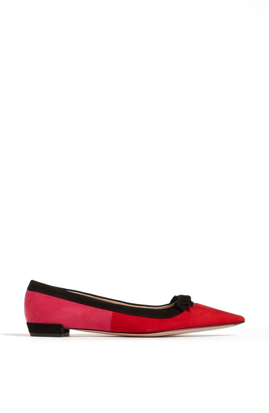 Alternate Image 4  - Prada Tricolor Bow Pointy Toe Flat