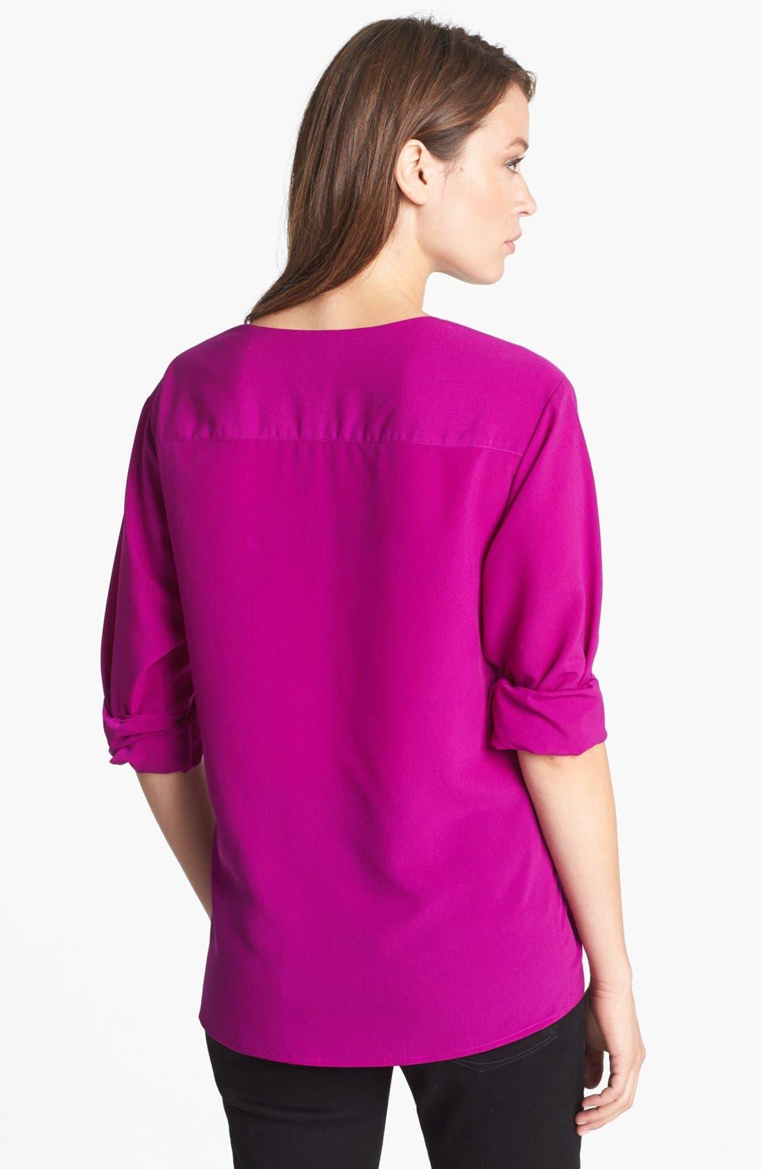Alternate Image 2  - Anne Klein V-Neck Shirt (Petite)