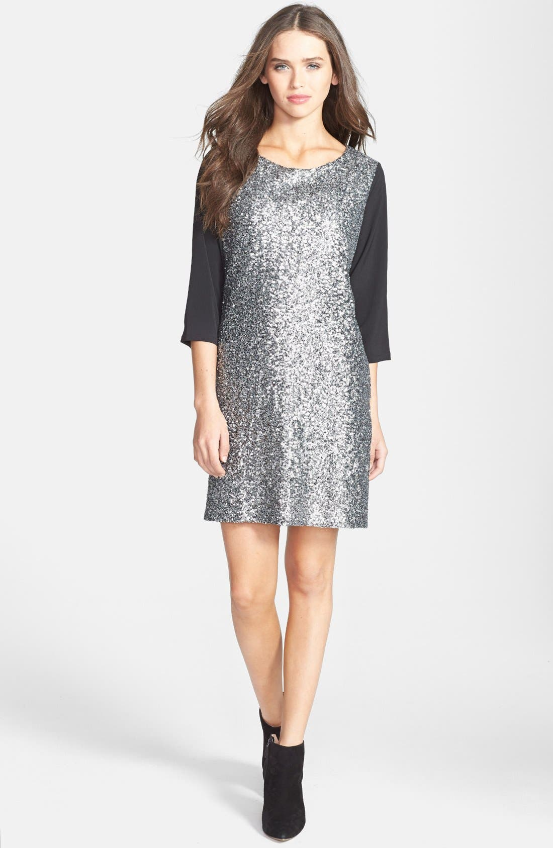 Main Image - Press Chiffon & Sequin Shift Dress