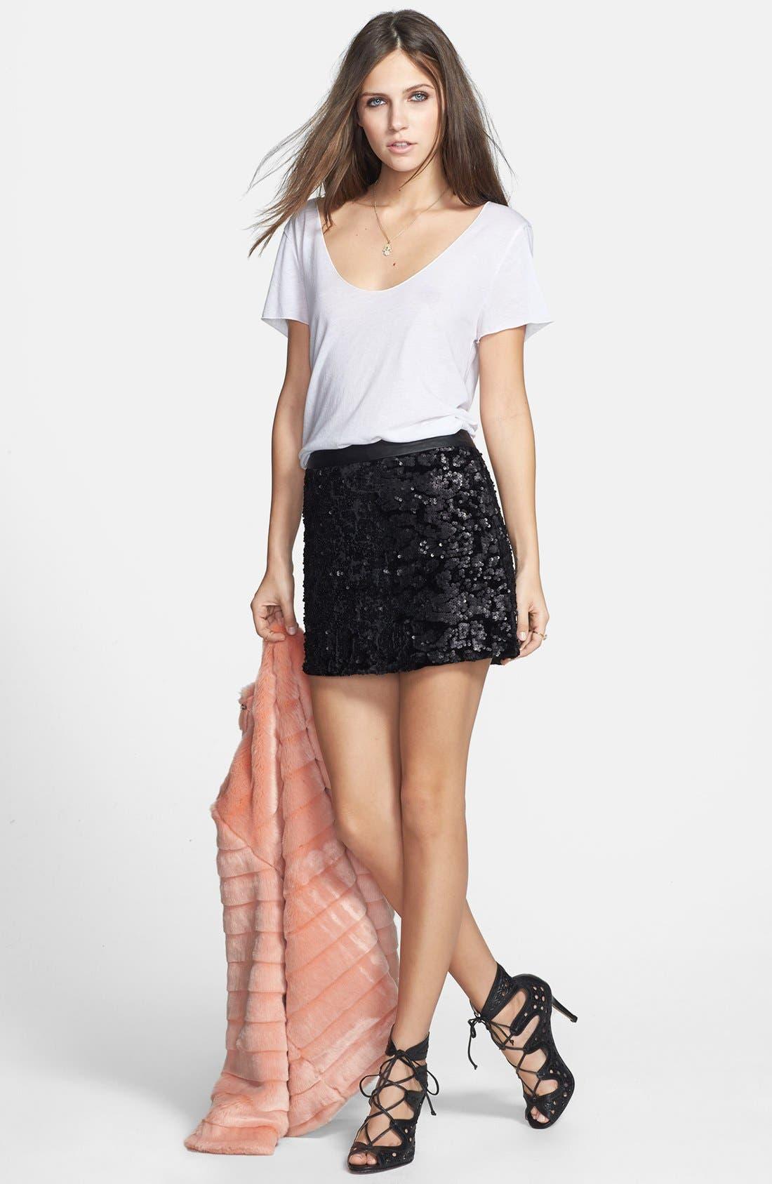 Alternate Image 4  - ASTR Sequin Velvet Miniskirt