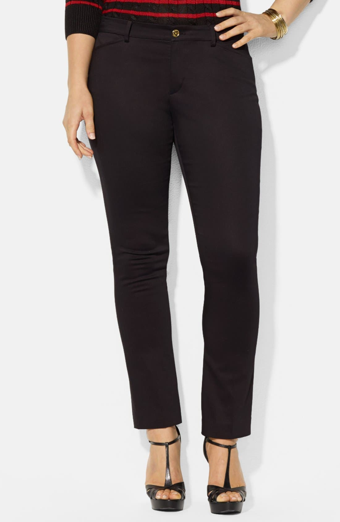 Main Image - Lauren Ralph Lauren Slim Ankle Pants (Plus Size)