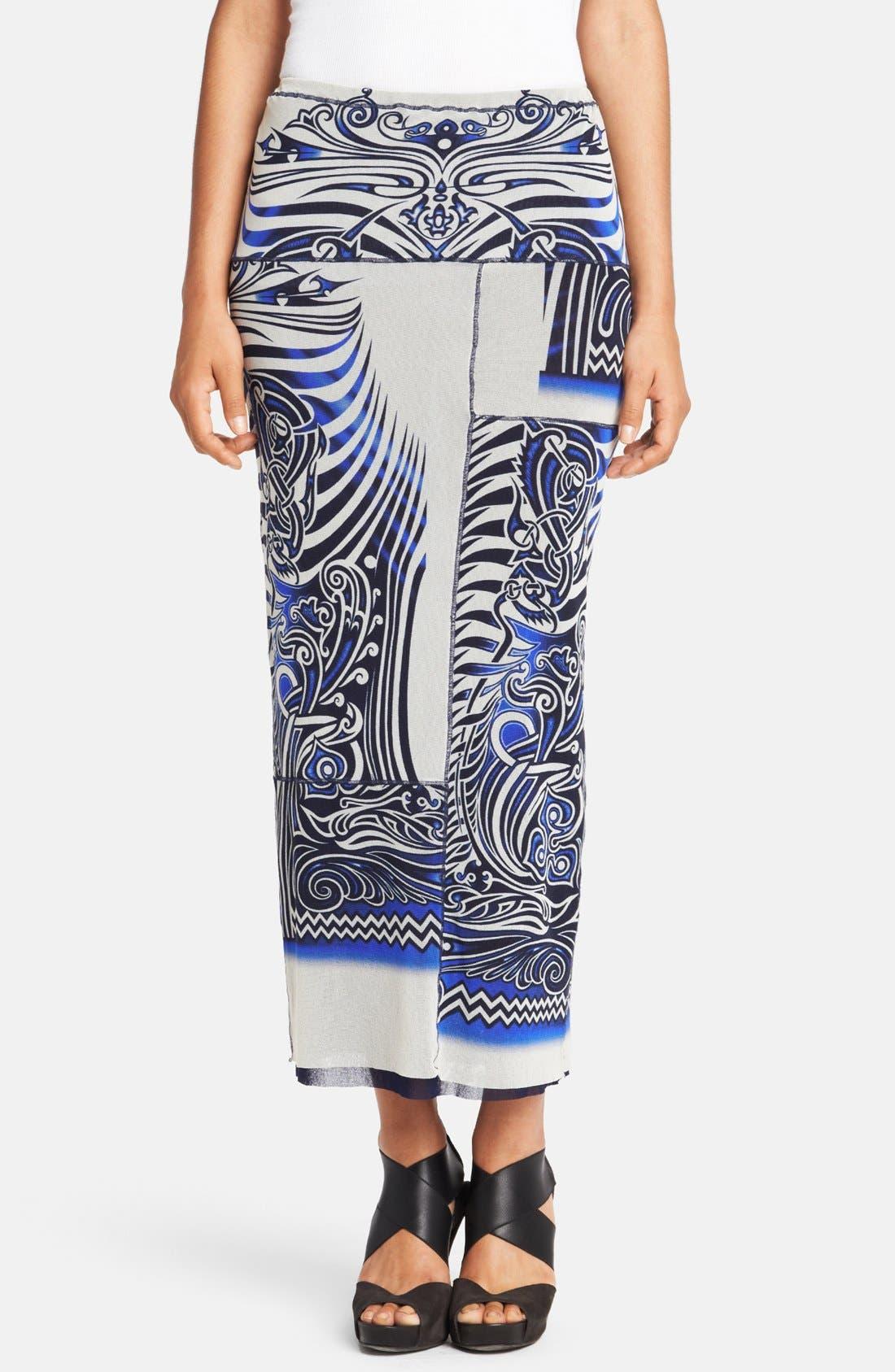 Main Image - Jean Paul Gaultier Tattoo Print Tulle Midi Tube Skirt