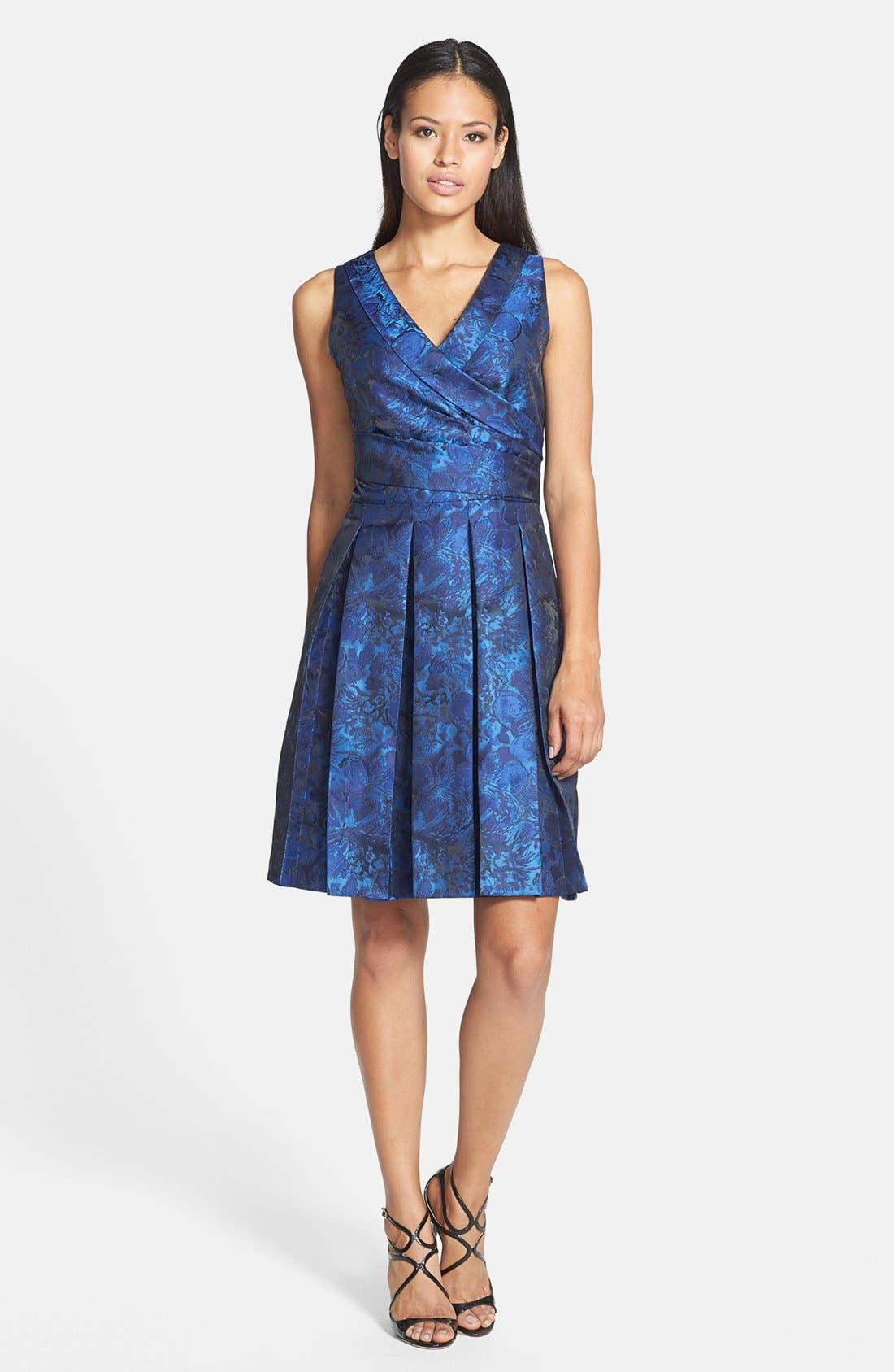 Alternate Image 3  - Tahari Pleat Jacquard Fit & Flare Dress