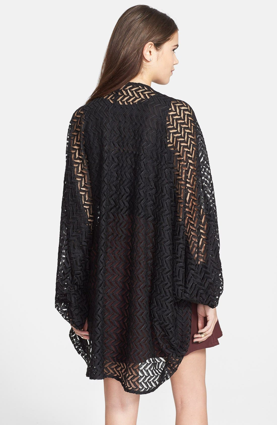 Alternate Image 2  - Liberty Love Chevron Lace Oversized Cardigan (Juniors) (Online Only)