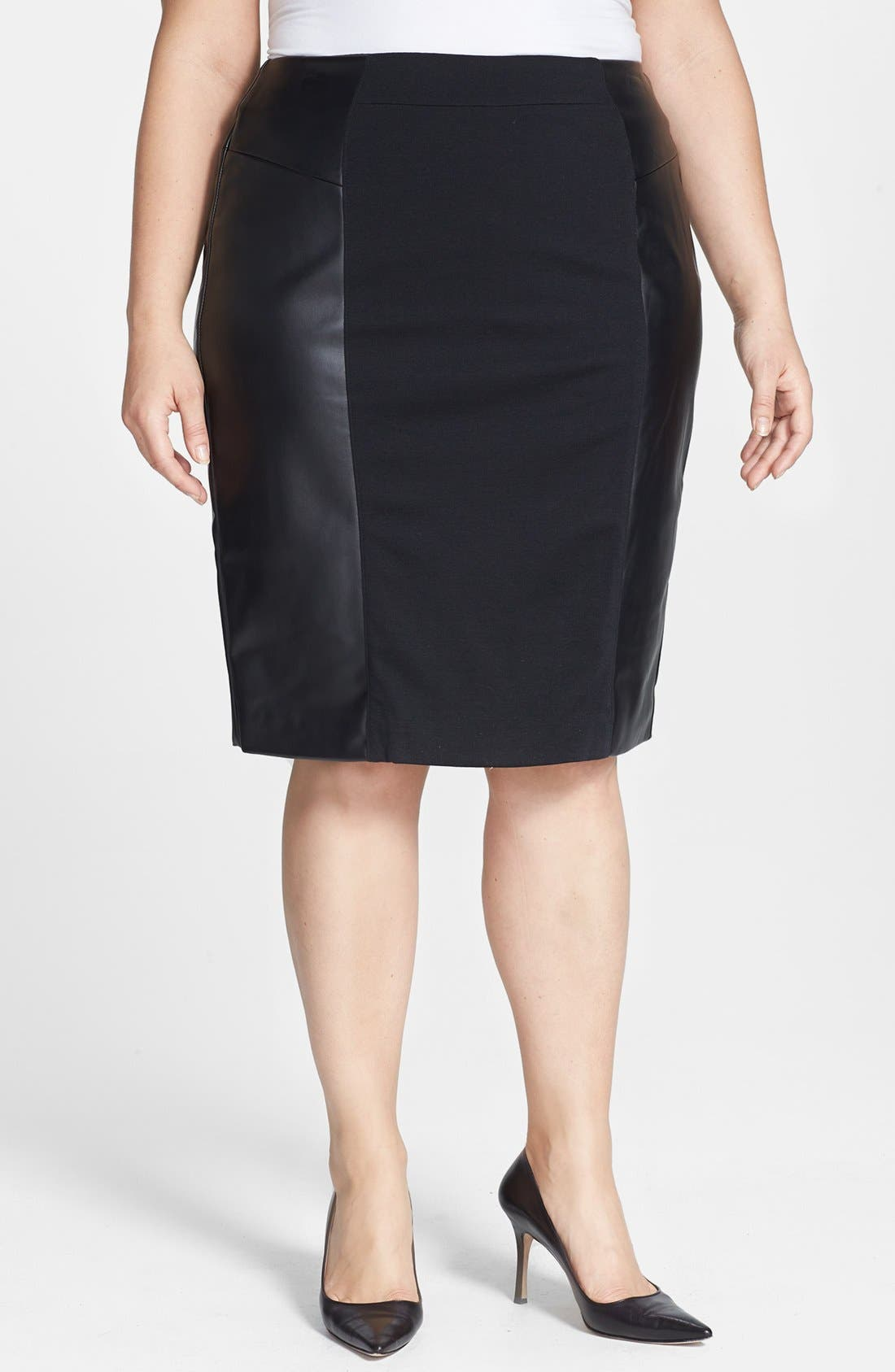 Alternate Image 1 Selected - MICHAEL Michael Kors Ponte & Faux Leather Skirt (Plus Size)