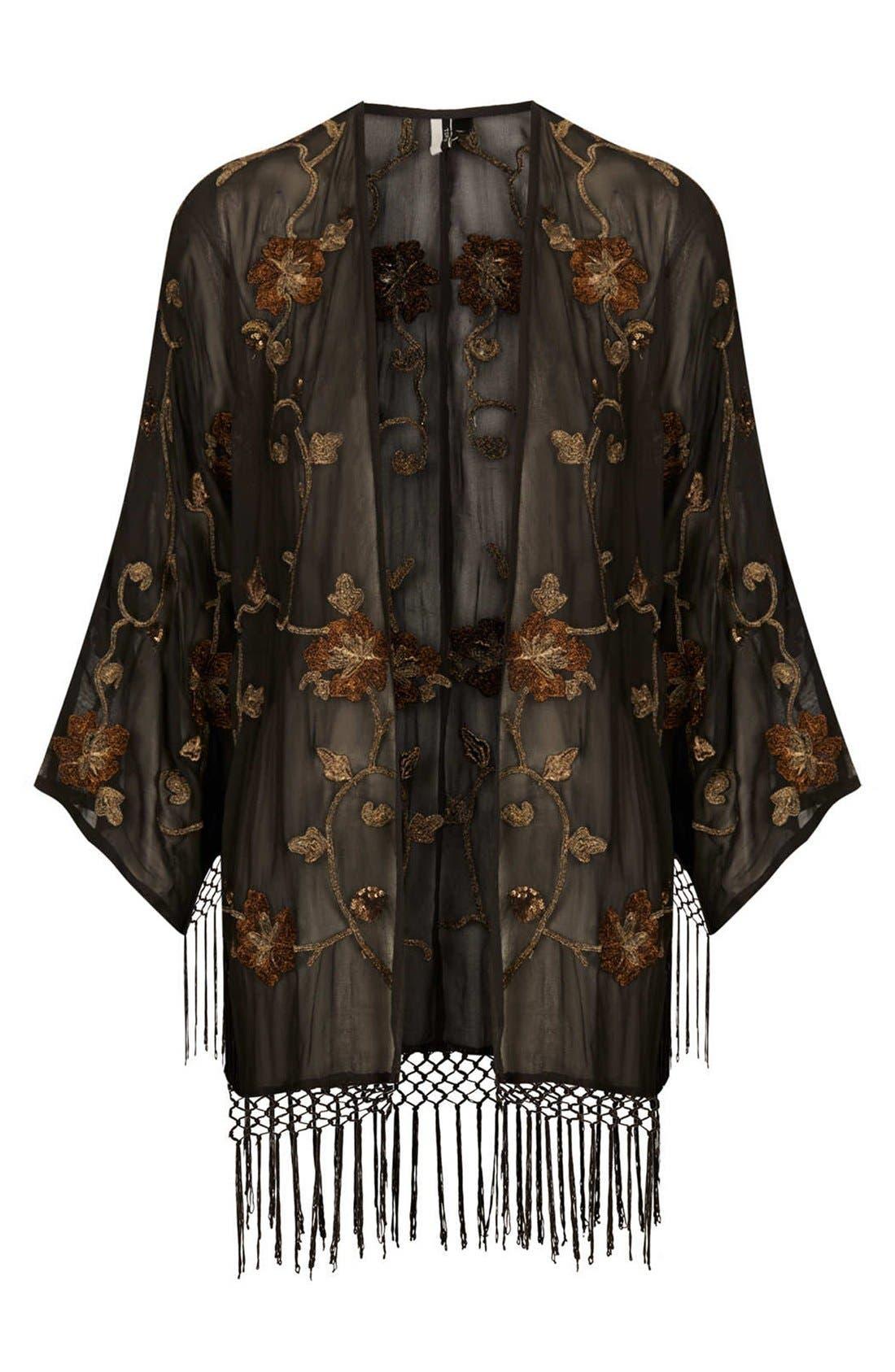 Alternate Image 3  - Topshop Embroidered Kimono Cardigan