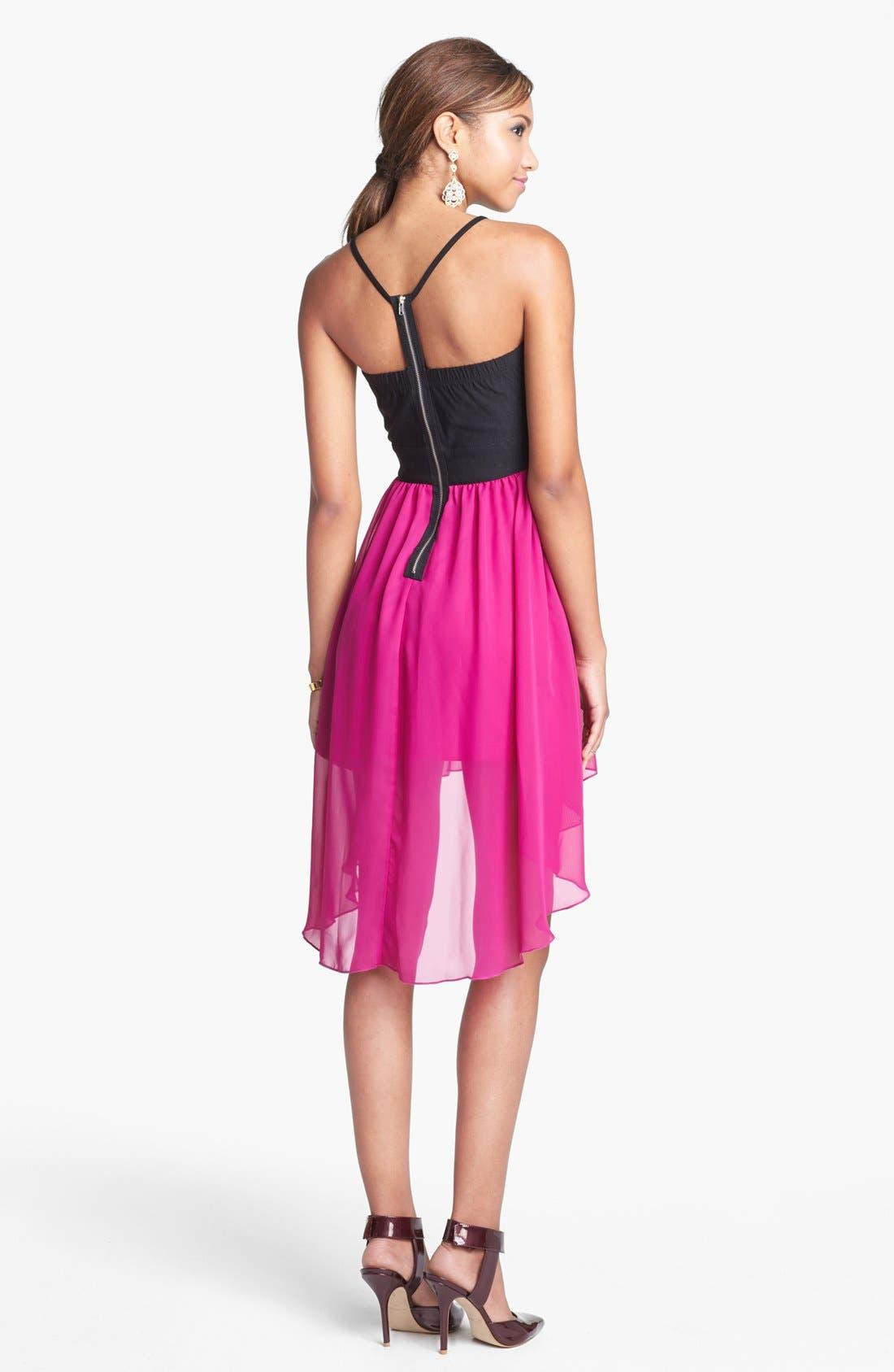 Alternate Image 2  - Trixxi High/Low Chiffon Dress (Juniors) (Online Only)