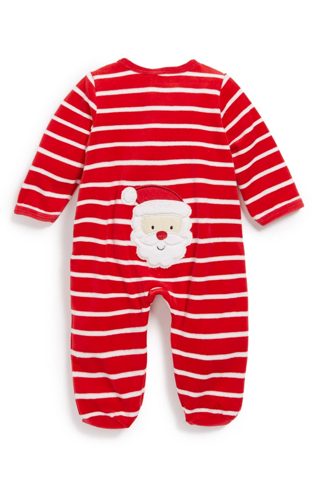 Alternate Image 2  - Little Me 'First Christmas - Santa' Velour One-Piece (Baby)