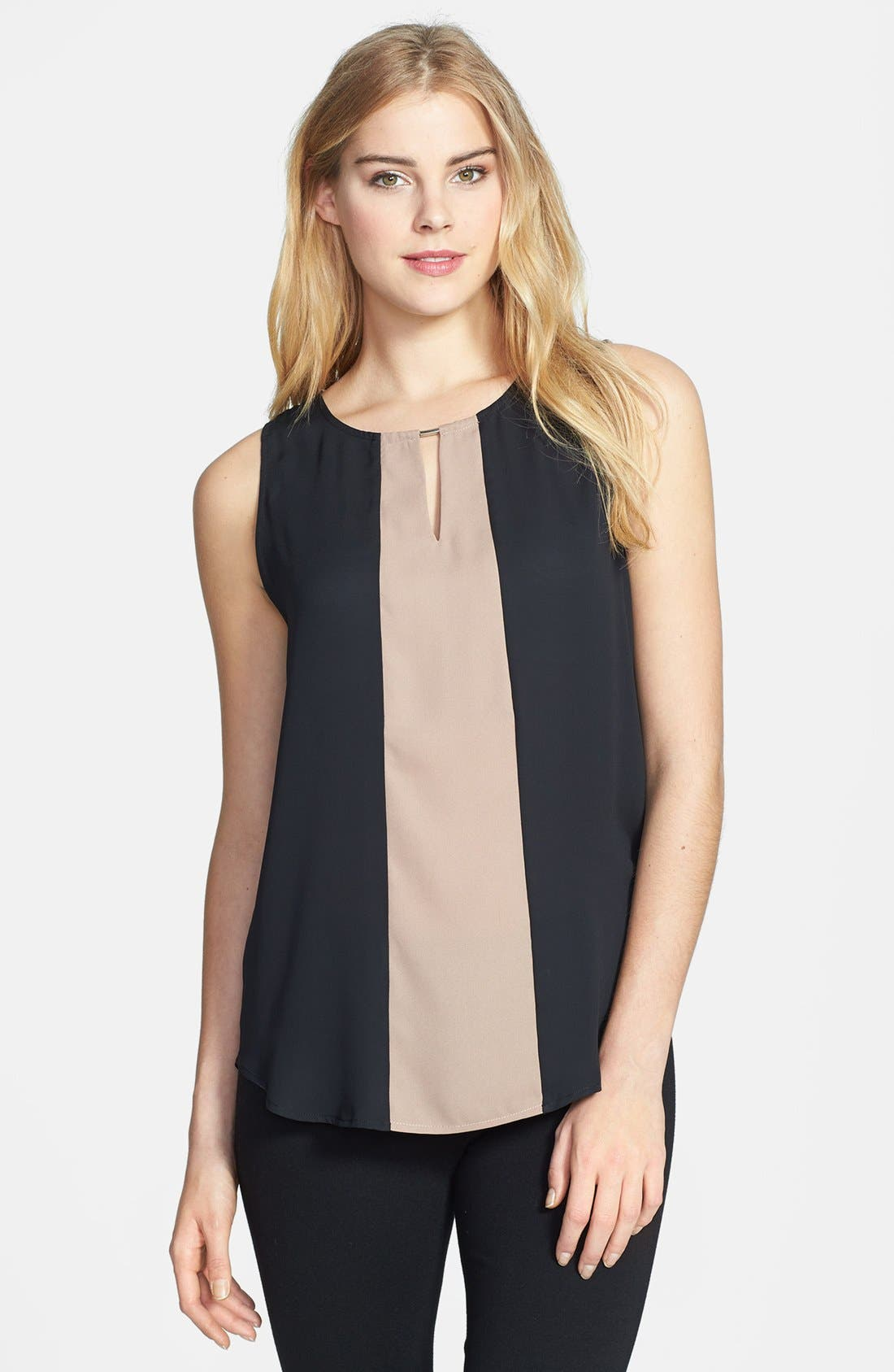 Main Image - Pleione Colorblock Keyhole Detail Sleeveless Shell