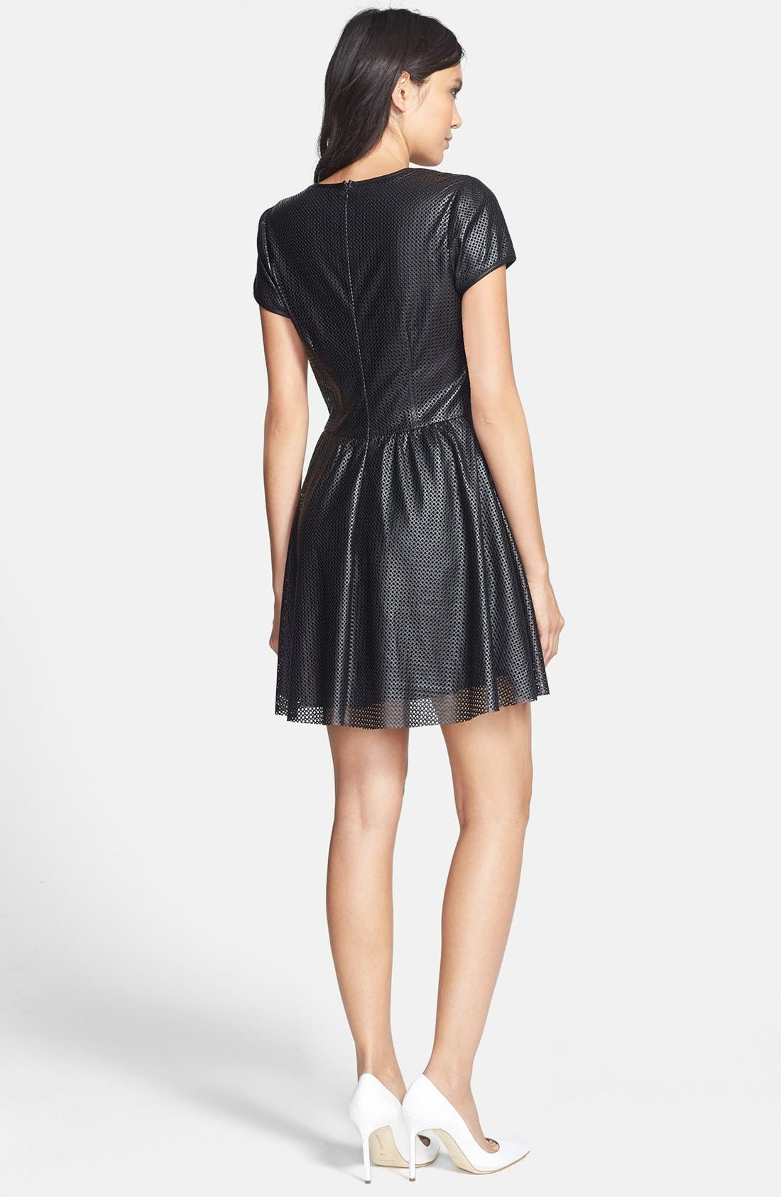 Alternate Image 2  - Lucca Couture Perforated Faux Leather Skater Dress
