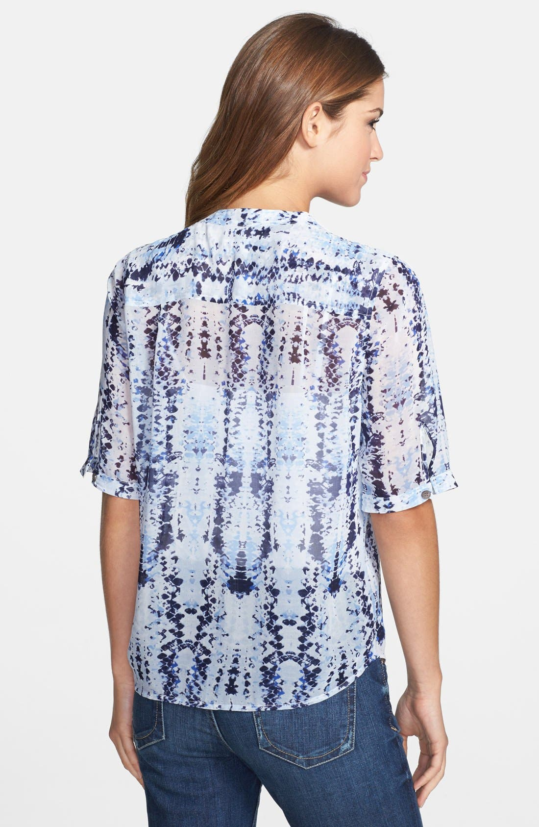 Alternate Image 2  - Two by Vince Camuto Split Neck Short Sleeve Blouse