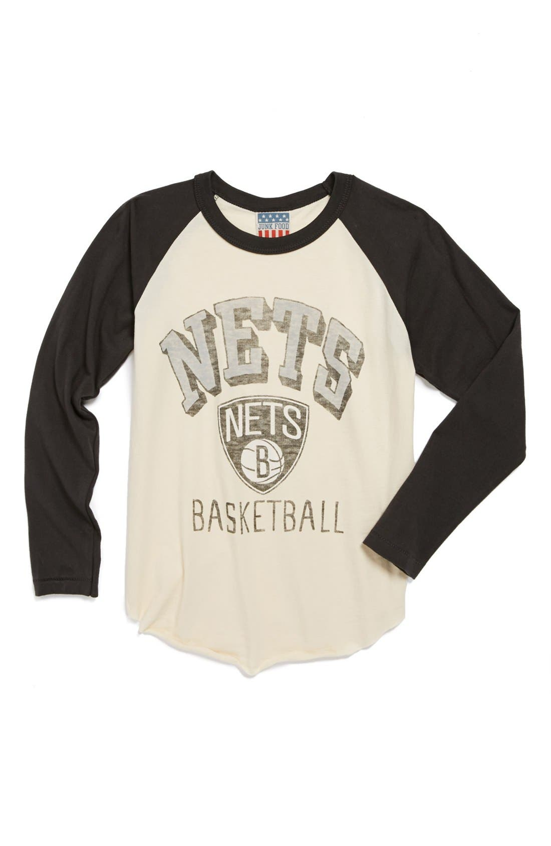 Main Image - Junk Food 'Brooklyn Nets' Raglan Shirt (Little Boys & Big Boys)