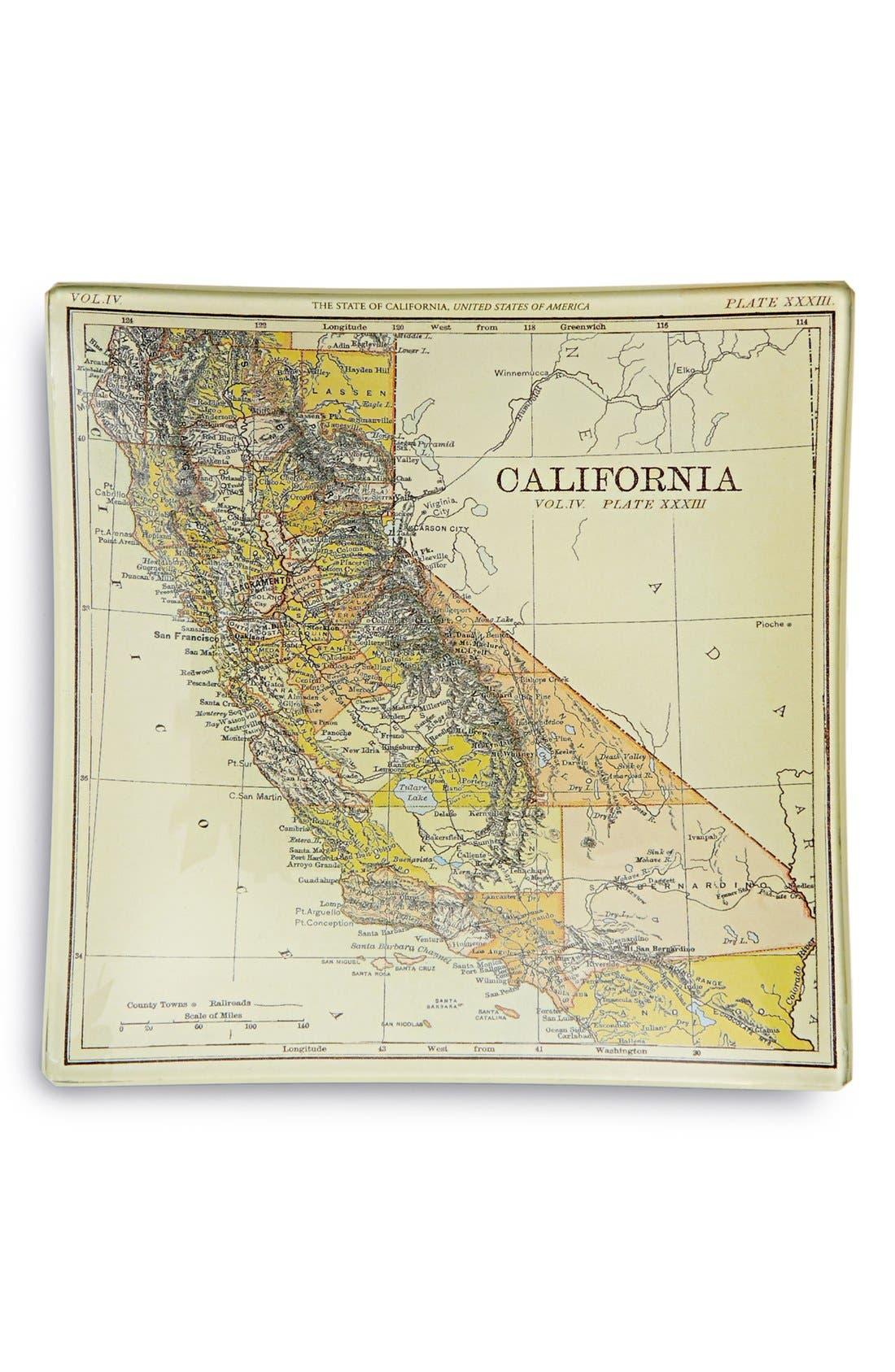 Main Image - Ben's Garden 'Vintage California Map' Decorative Glass Tray