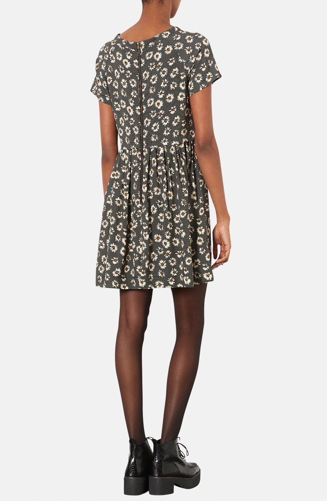 Alternate Image 2  - Topshop Daisy Pattern Flared Dress