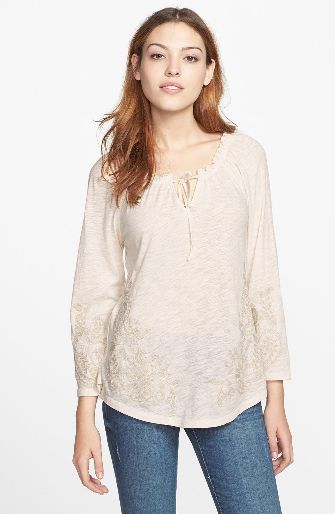 Alternate Image 1 Selected - Lucky Brand Paisley Embroidered Top