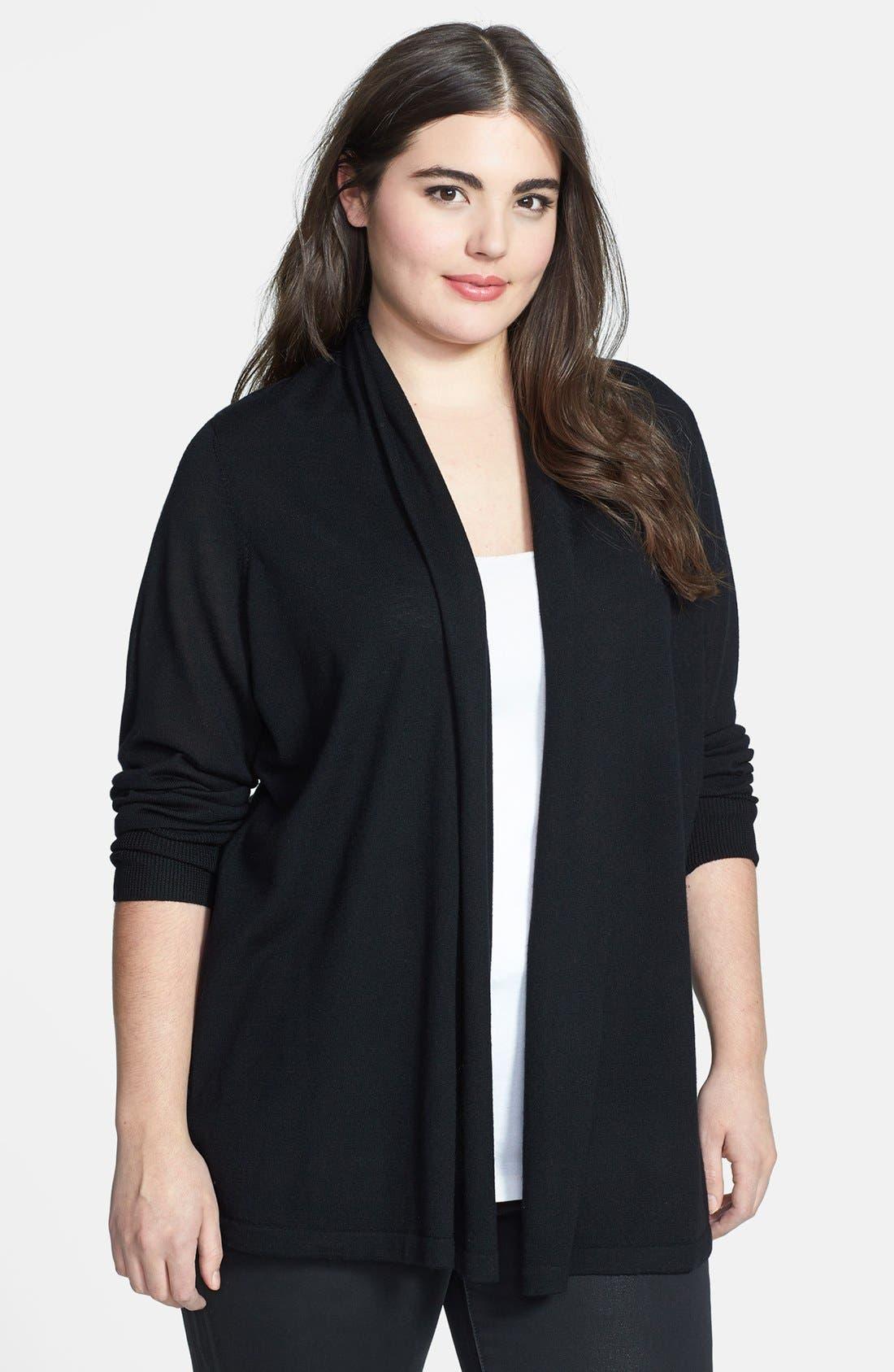 Alternate Image 1 Selected - Sejour Wool Cardigan (Plus Size)