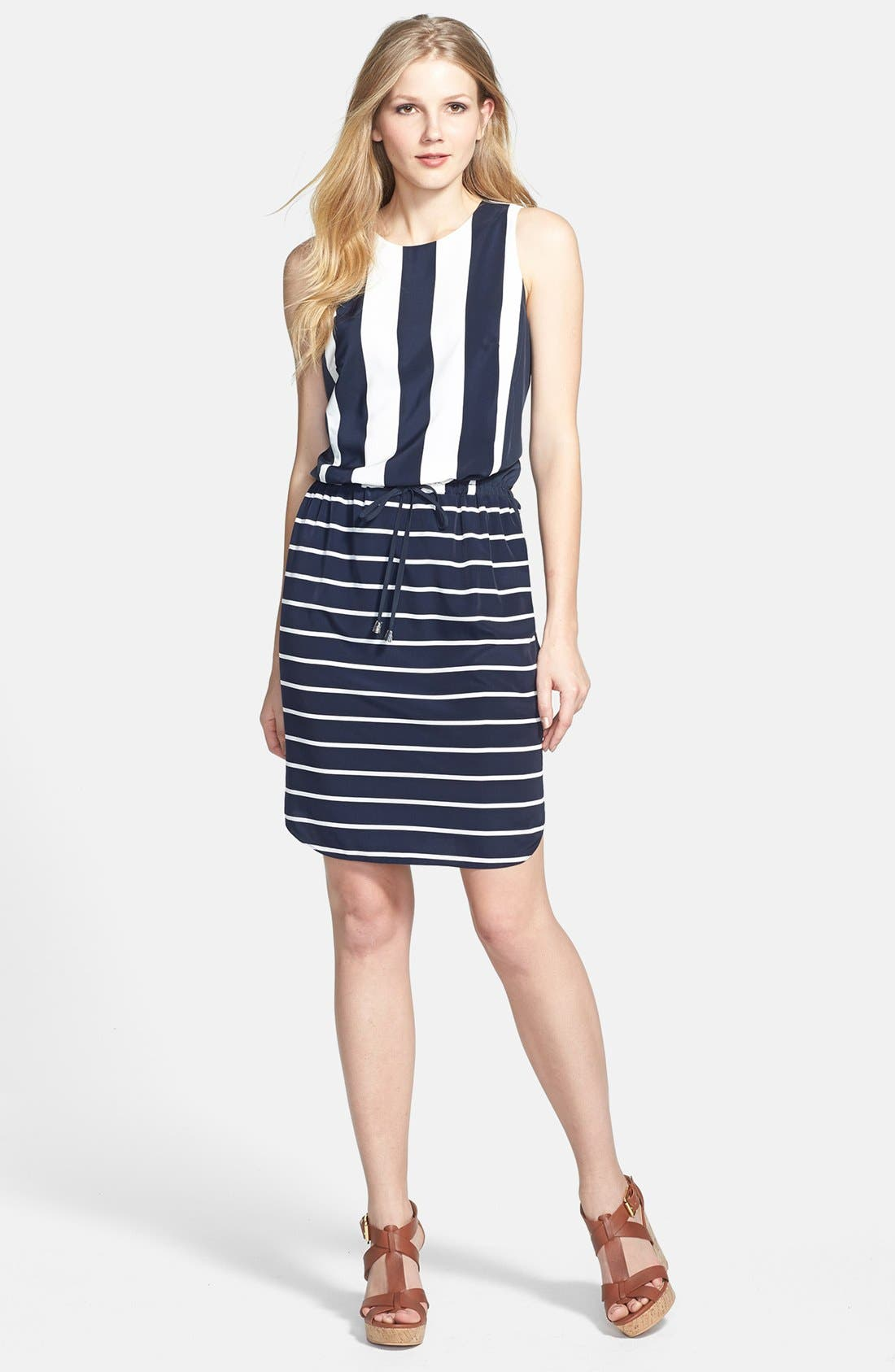 Alternate Image 1 Selected - Vince Camuto 'Yacht Stripe' Mixed Print Dress (Regular & Petite)