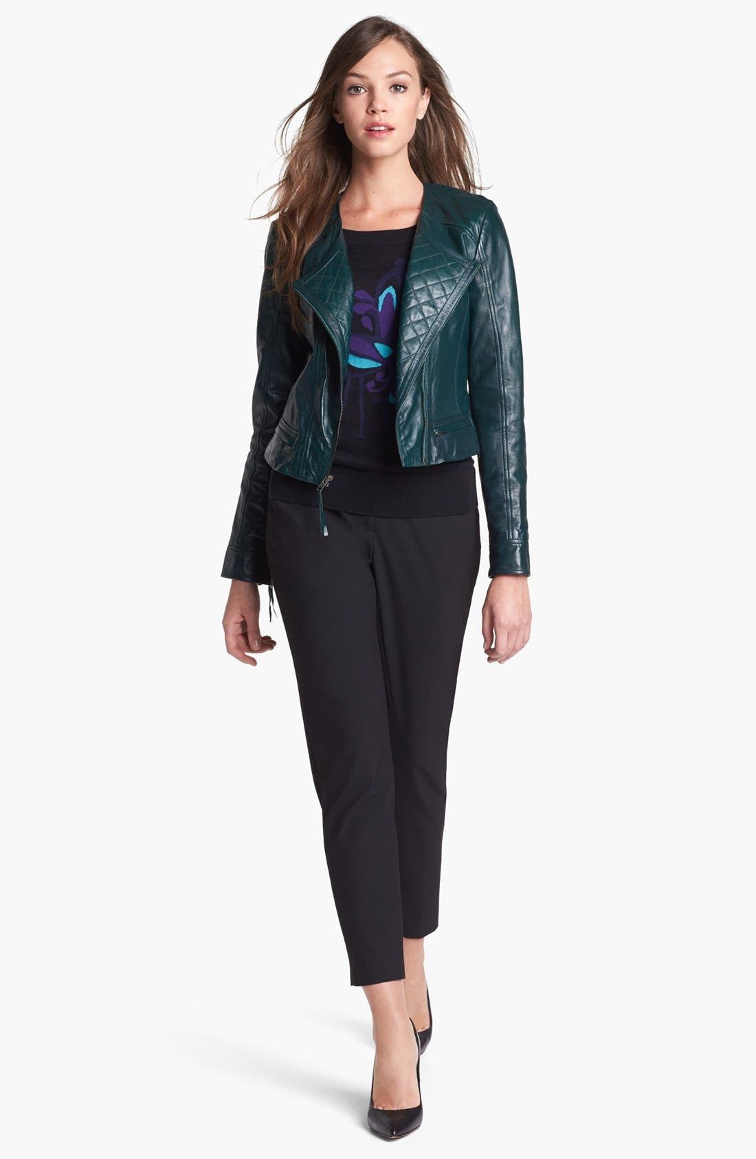 Alternate Image 4  - Halogen® Quilted Lapel Leather Moto Jacket (Petite)