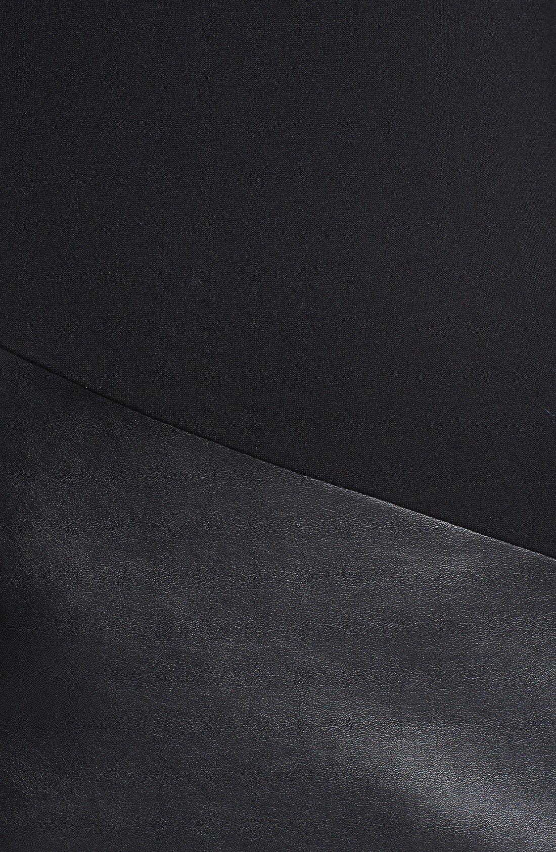 Alternate Image 3  - DKNYC Ponte & Faux Leather Sheath Dress
