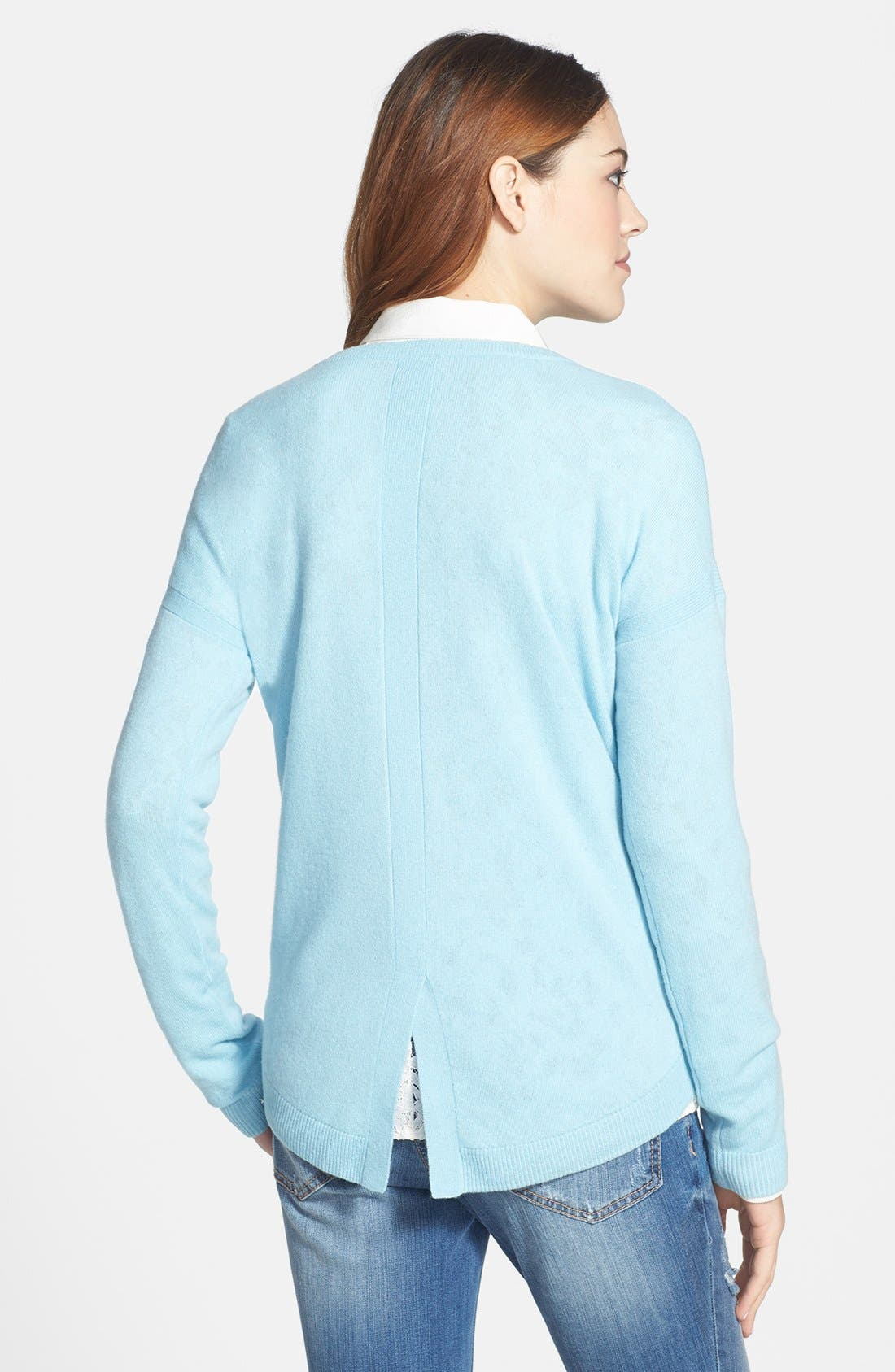 Alternate Image 2  - Halogen® Lightweight Cashmere Crewneck Sweater with Pocket