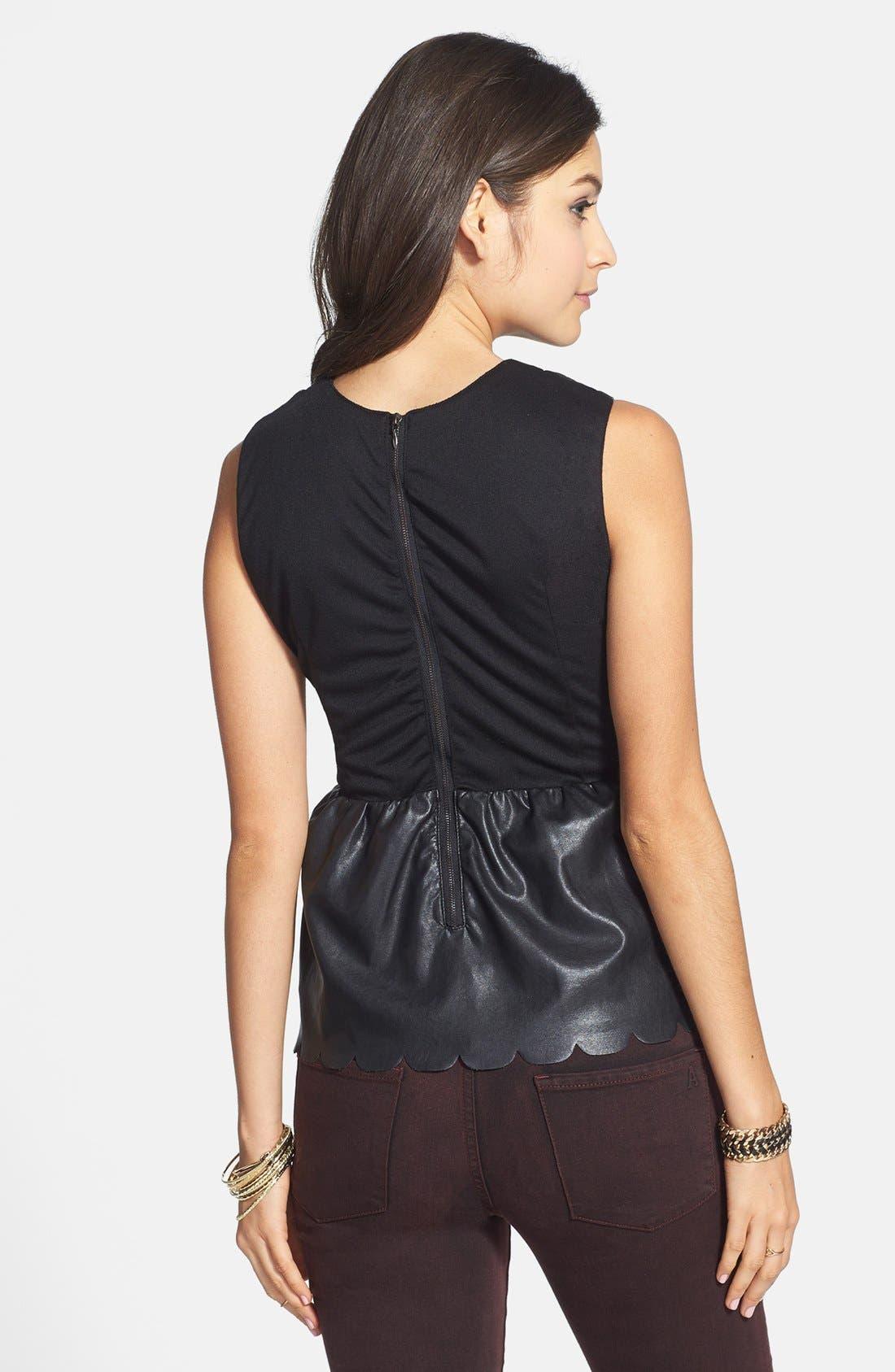Alternate Image 2  - C. Luce Scalloped Faux Leather Peplum Top (Juniors)
