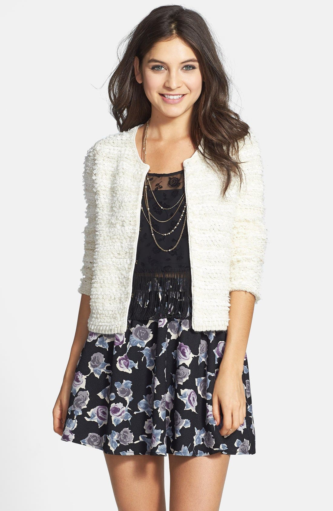 Alternate Image 1 Selected - Frenchi® Loop Knit Boxy Cardigan (Juniors)