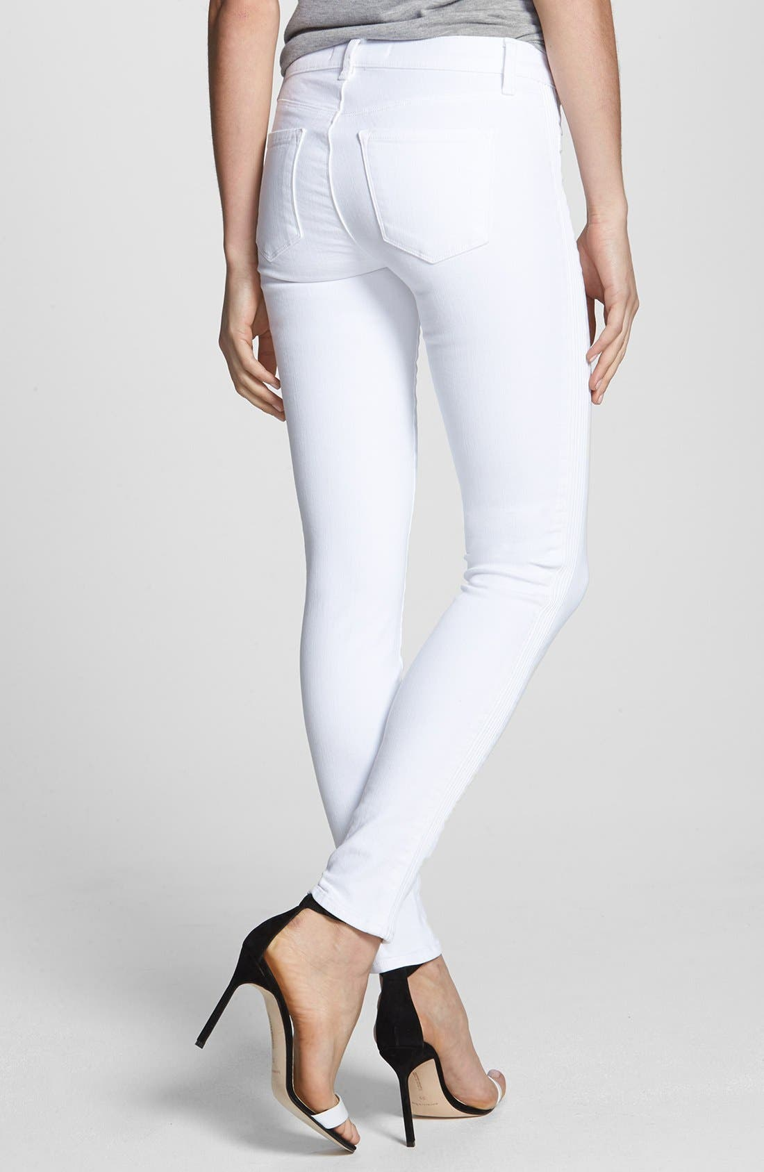 Alternate Image 2  - J Brand Mid Rise Skinny Jeans (Blanc)