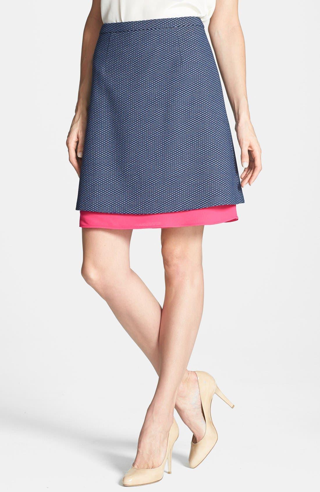 Main Image - Halogen® Jacquard Mesh A-Line Skirt (Petite)