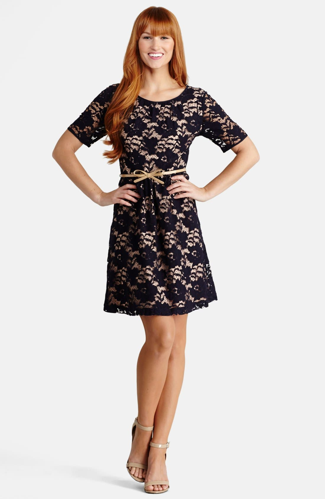 Alternate Image 1 Selected - Donna Morgan Lace Fit & Flare Dress