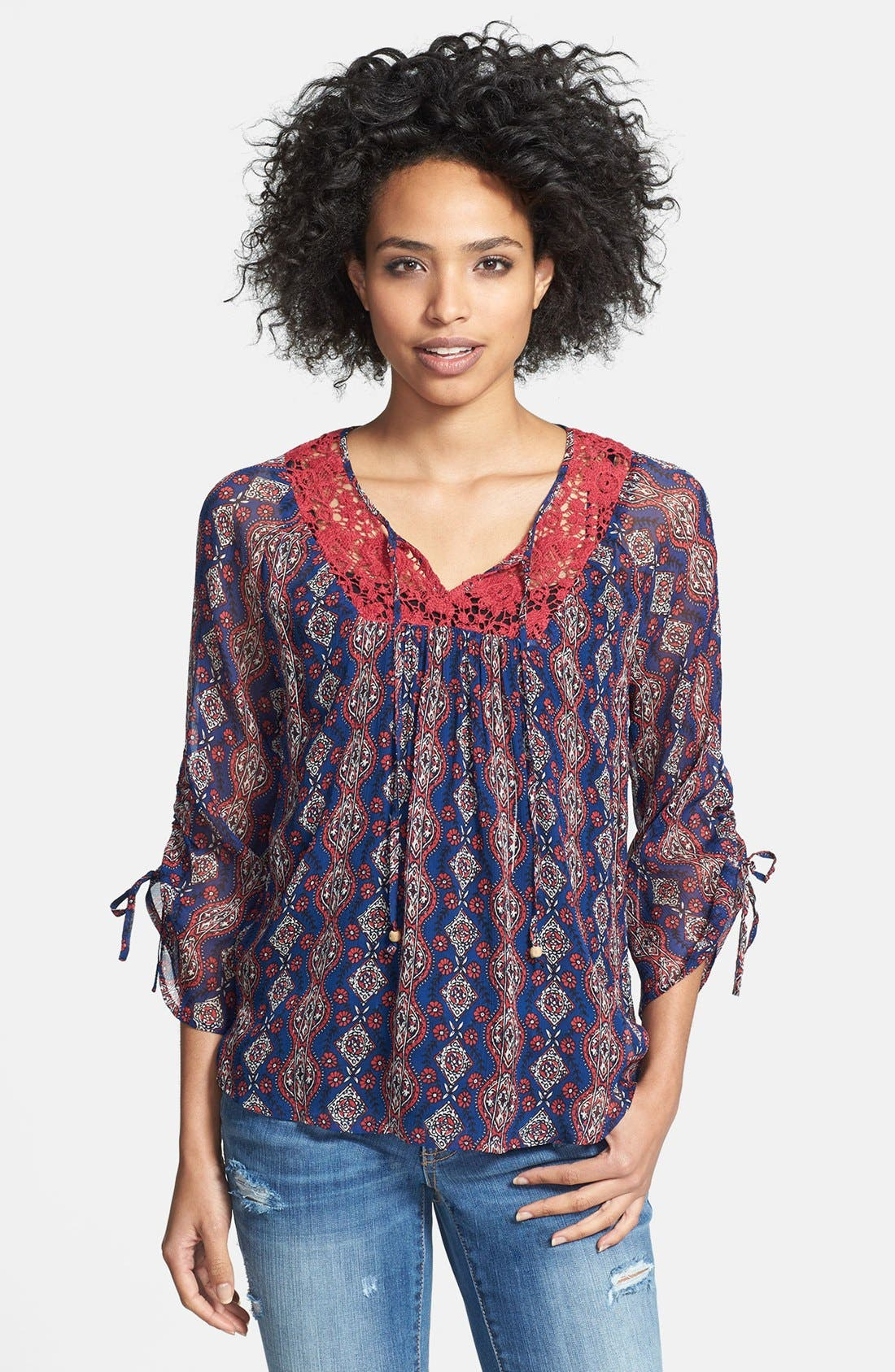 Alternate Image 1 Selected - Lucky Brand 'Laguna' Lace Trim Peasant Blouse