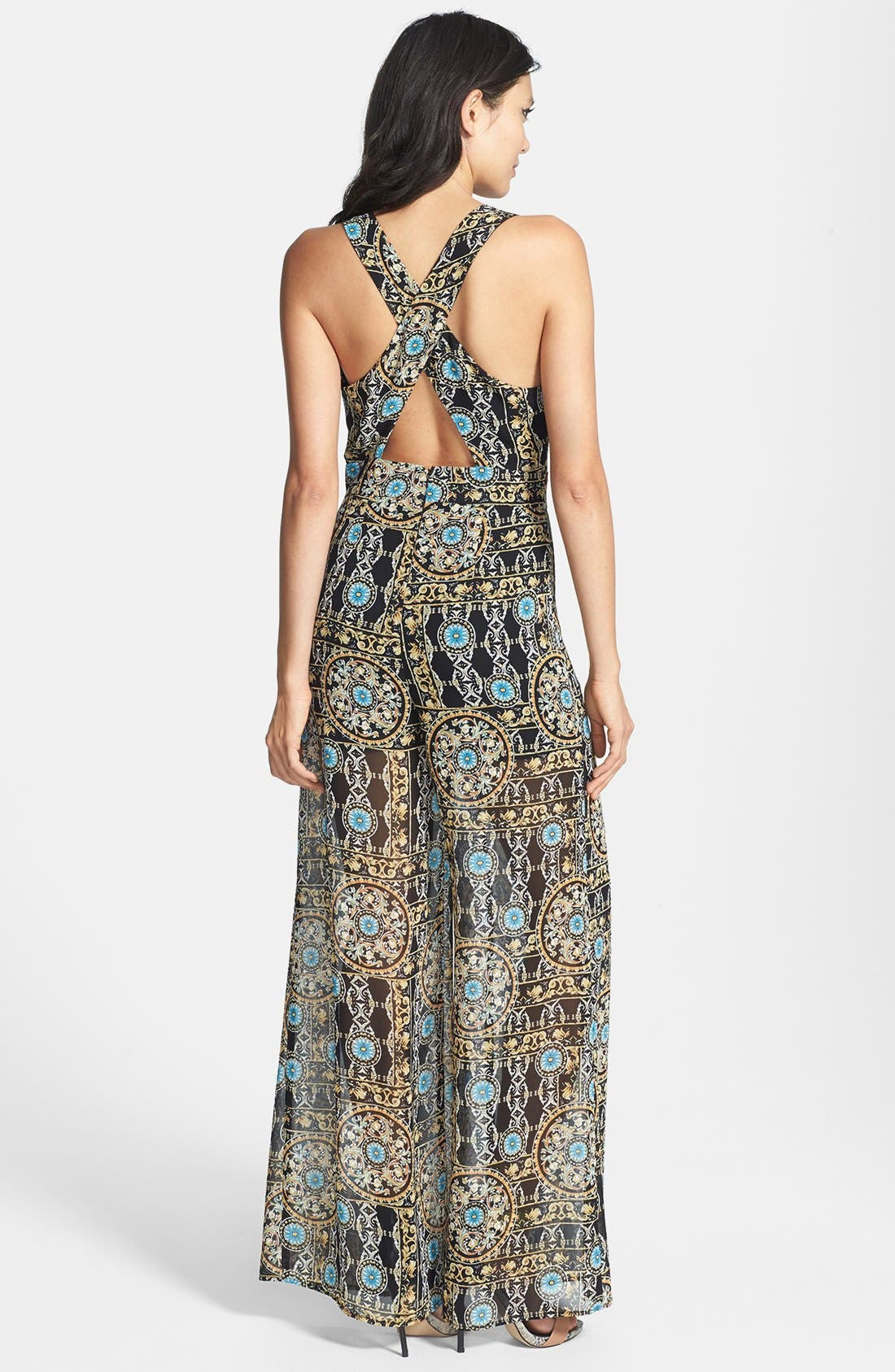 Alternate Image 2  - ASTR Print Cross Back Jumpsuit