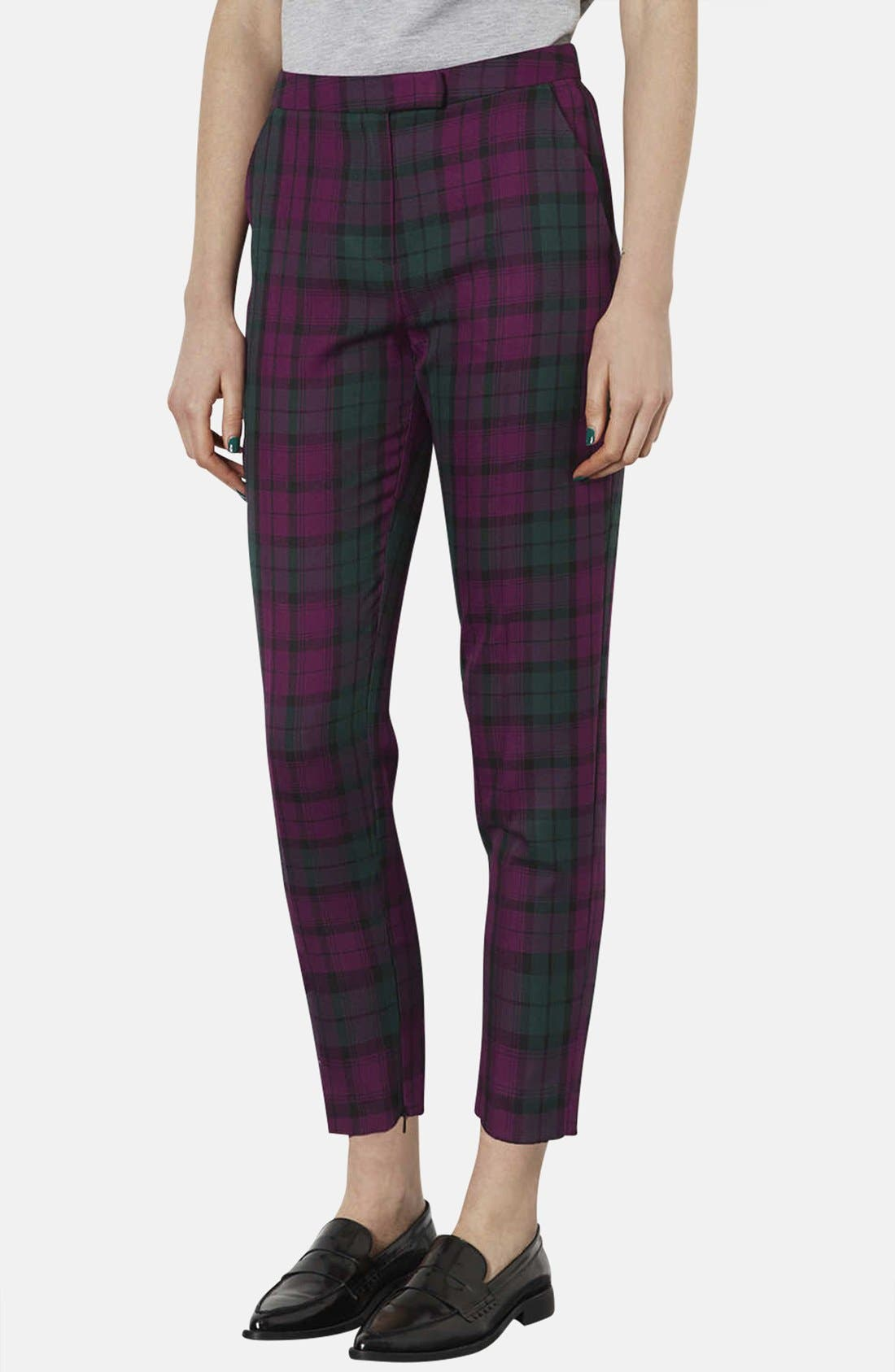 Alternate Image 1 Selected - Topshop Check Print Cigarette Trousers