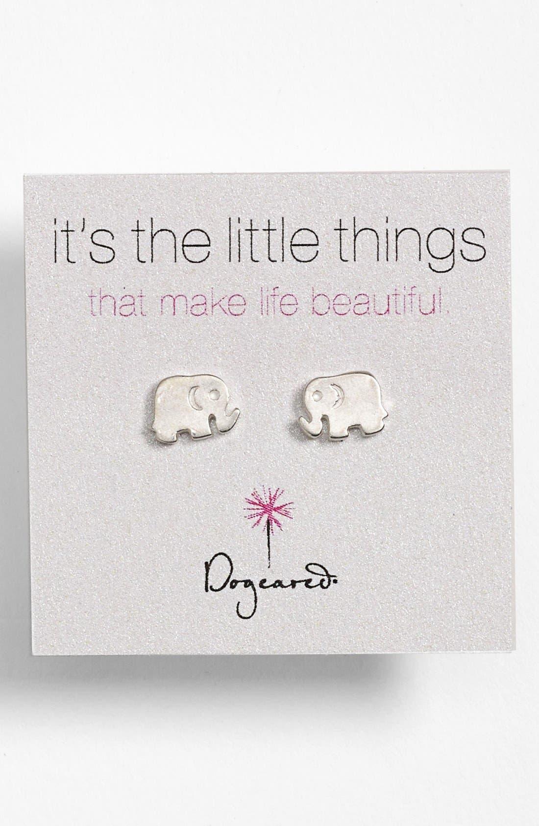 Main Image - Dogeared 'It's the Little Things' Elephant Stud Earrings