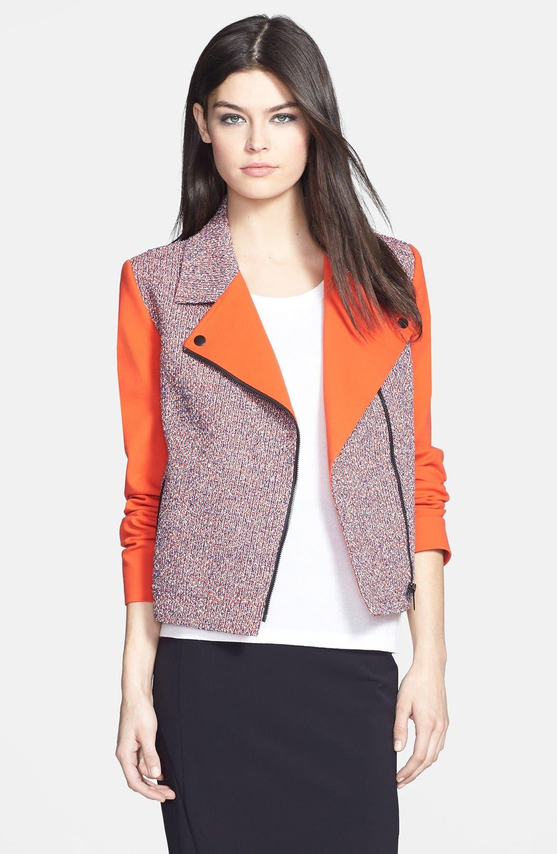 Main Image - Classiques Entier® 'Carlotta' Tweed & Ponte Moto Jacket
