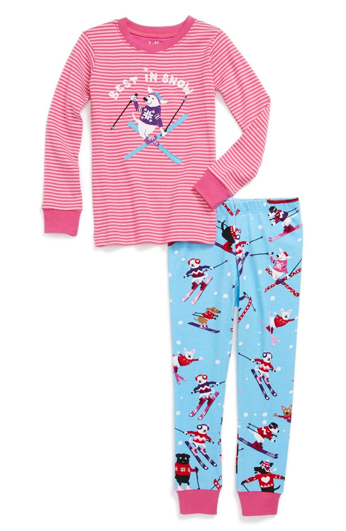 Alternate Image 1 Selected - Hatley 'Best in Snow' Two-Piece Fitted Pajamas (Toddler Girls)