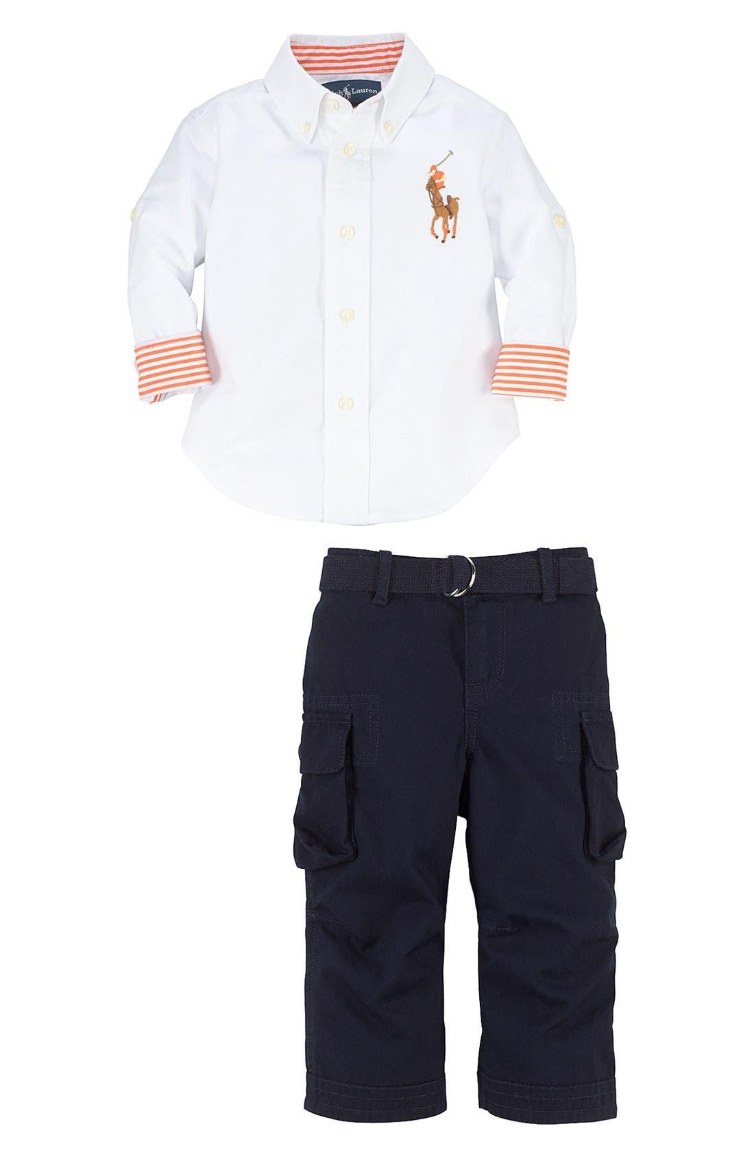 Alternate Image 2  - Ralph Lauren Woven Shirt & Cargo Pants (Baby Boys)