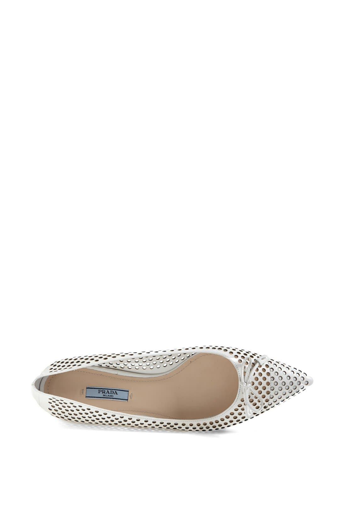 Alternate Image 3  - Prada Pointed Toe Perforated Ballet Flat