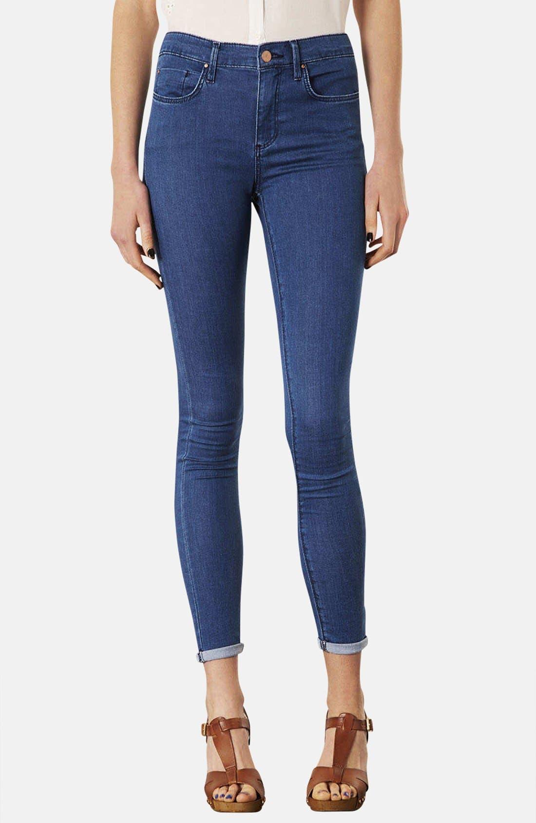 Main Image - Topshop Moto 'Leigh' Skinny Jeans (Blue) (Regular & Short)