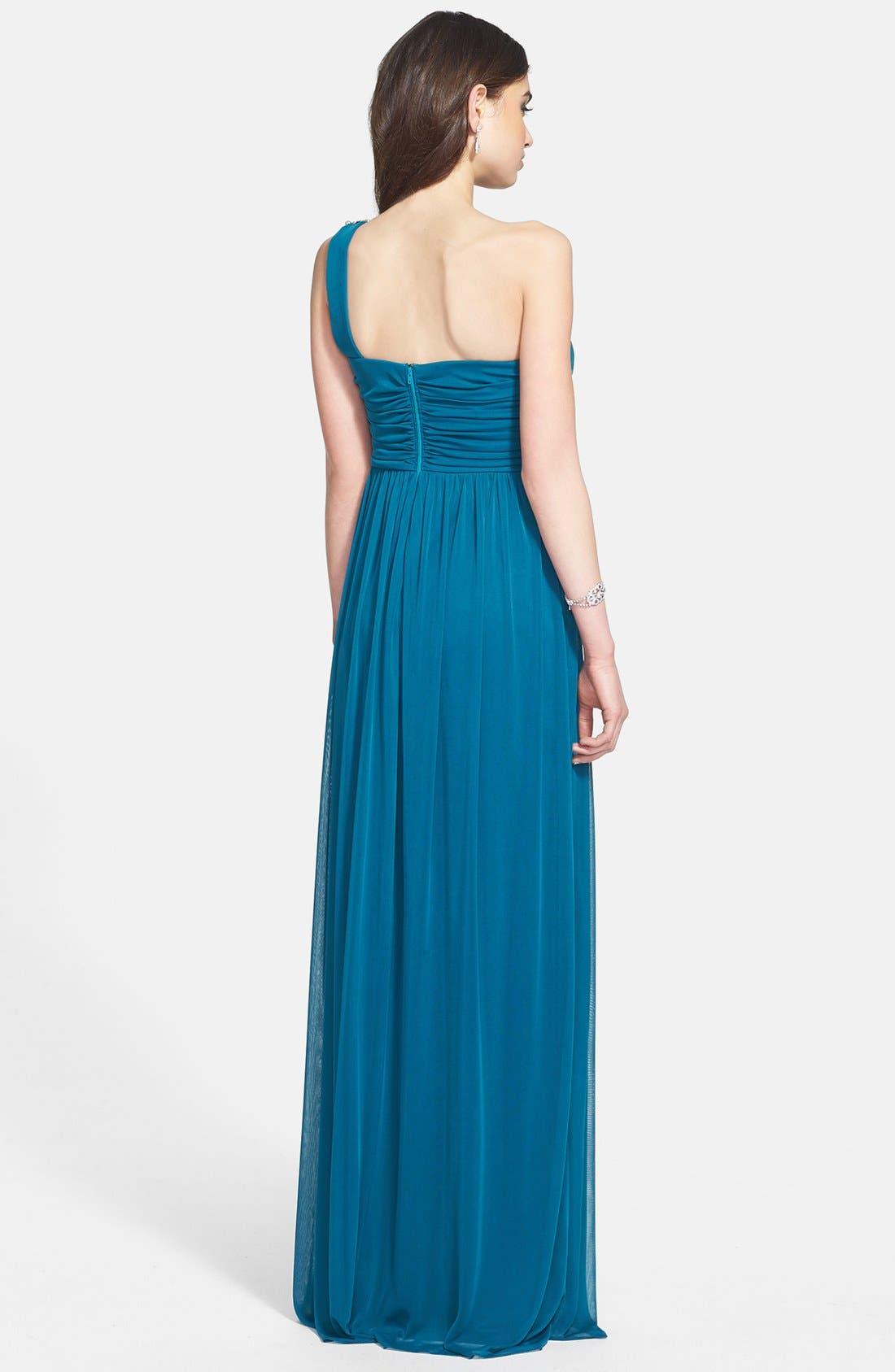 Alternate Image 2  - Way-In Embellished One-Shoulder Mesh Gown (Juniors)