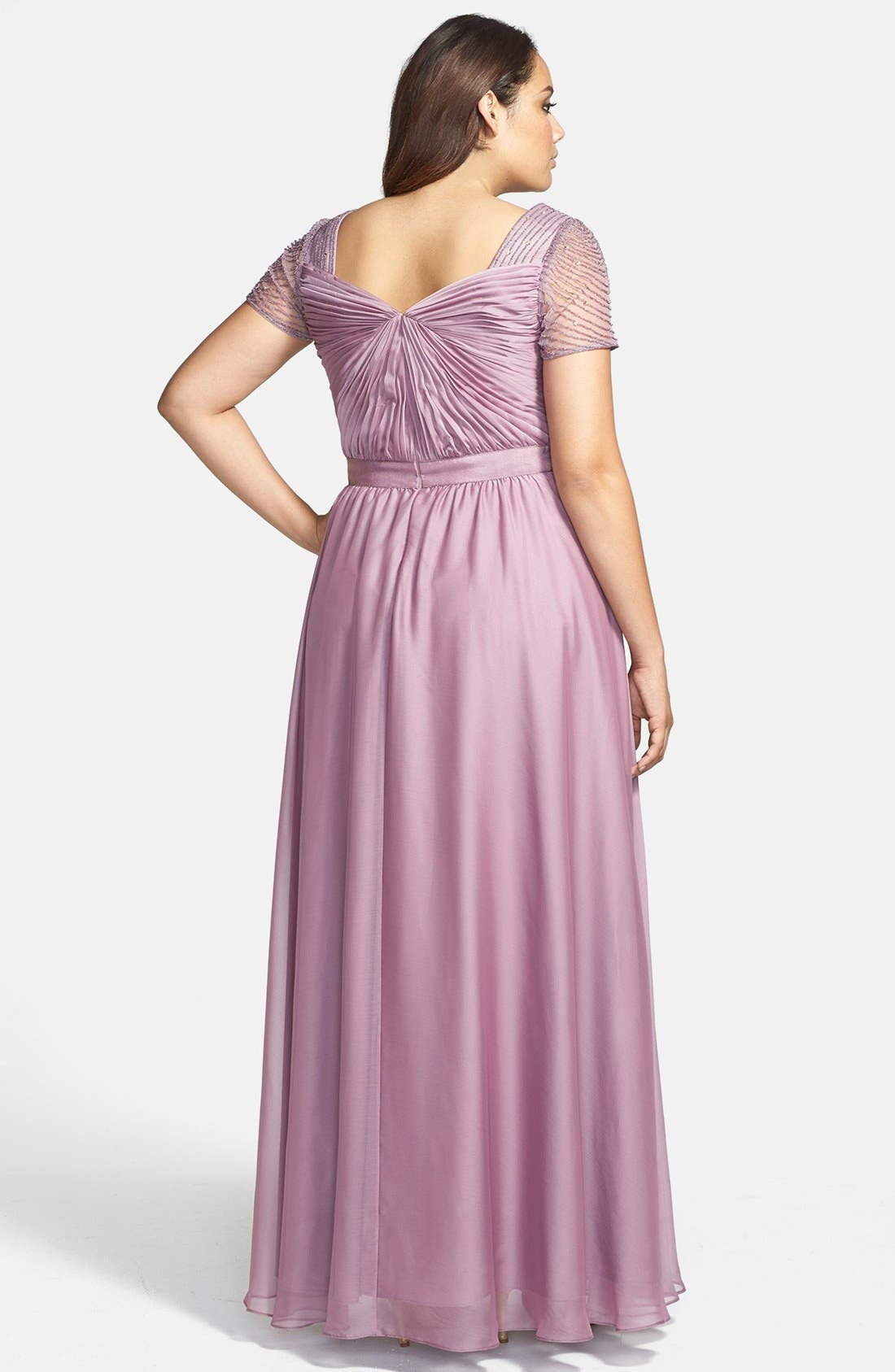 Alternate Image 2  - Adrianna Papell Beaded Flutter Sleeve Gown (Plus Size)
