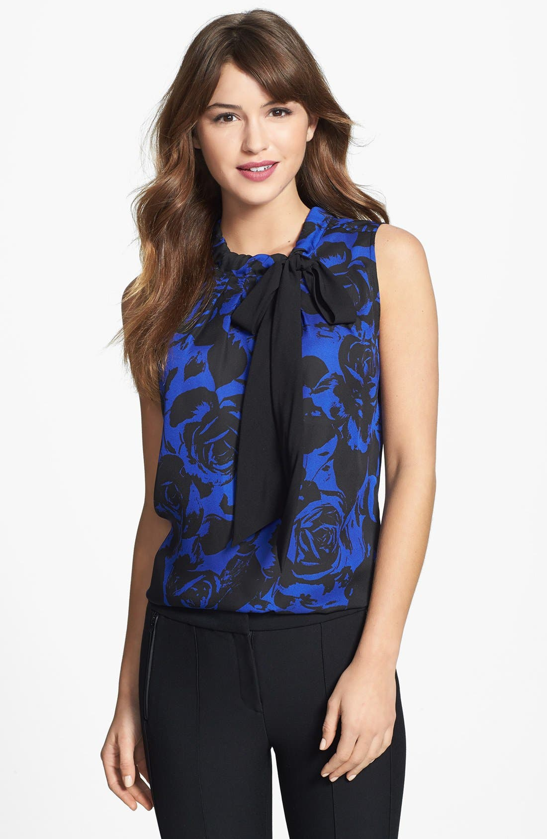 Main Image - Anne Klein Rose Print Tie Neck Blouse (Petite)