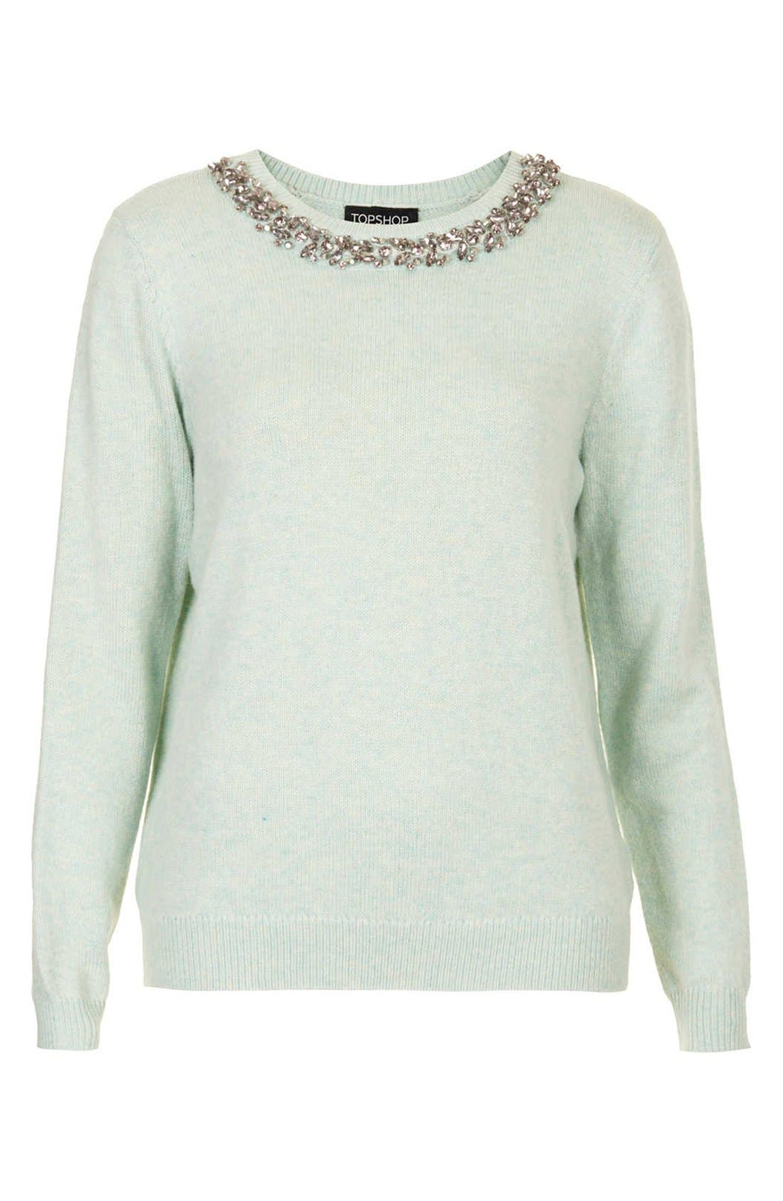Alternate Image 3  - Topshop Embellished Neckline Sweater