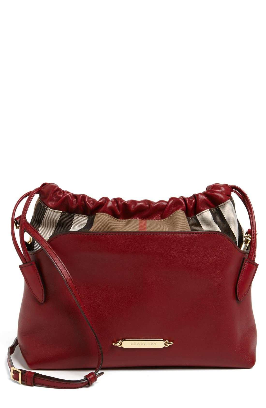 Alternate Image 1 Selected - Burberry 'Little Crush - House Check' Leather Crossbody Bag