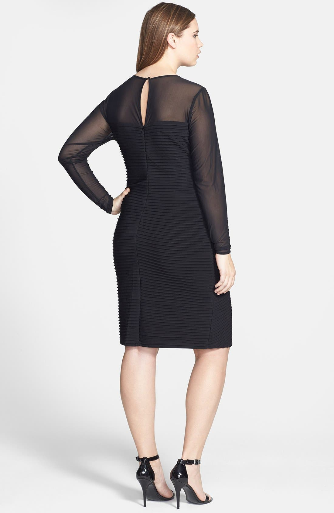 Alternate Image 2  - Calvin Klein Illusion Yoke & Sleeve Matte Jersey Sheath Dress (Plus Size)