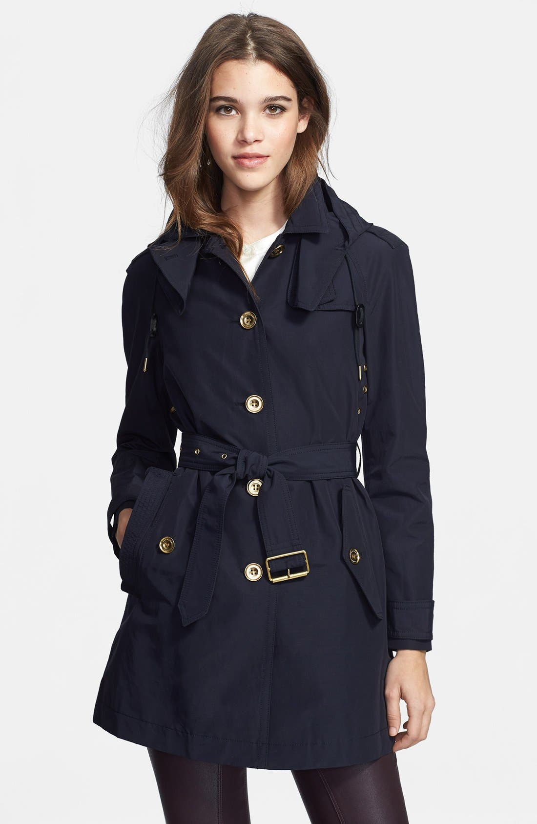Main Image - Burberry Brit 'Levinford' Single Breasted Hooded Trench Coat