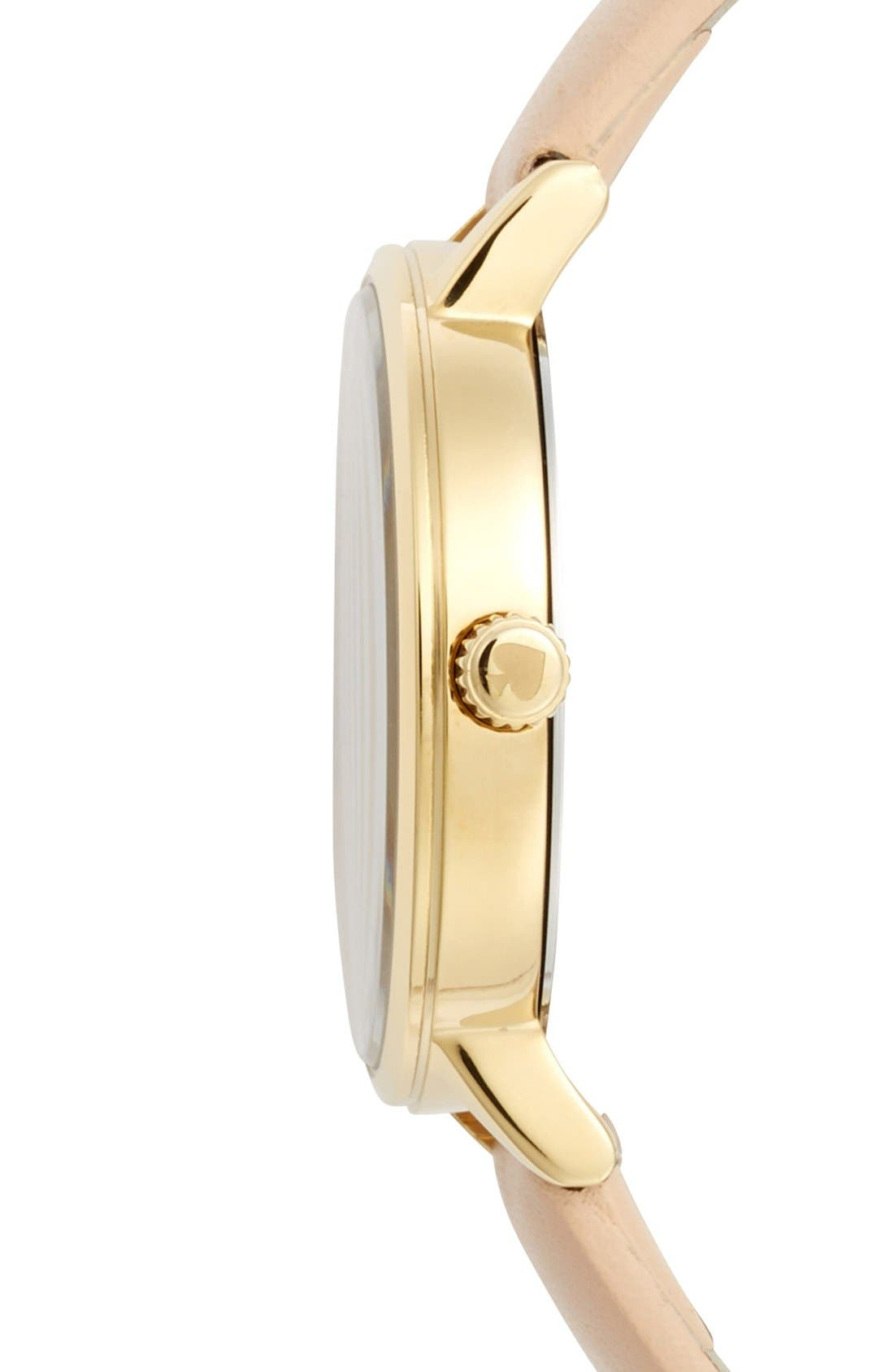 Alternate Image 3  - kate spade new york 'metro' round leather strap watch, 34mm