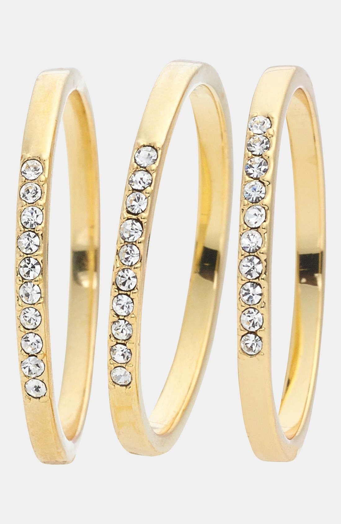 Alternate Image 2  - Ariella Collection Crystal Accent Stackable Rings (Set of 3)
