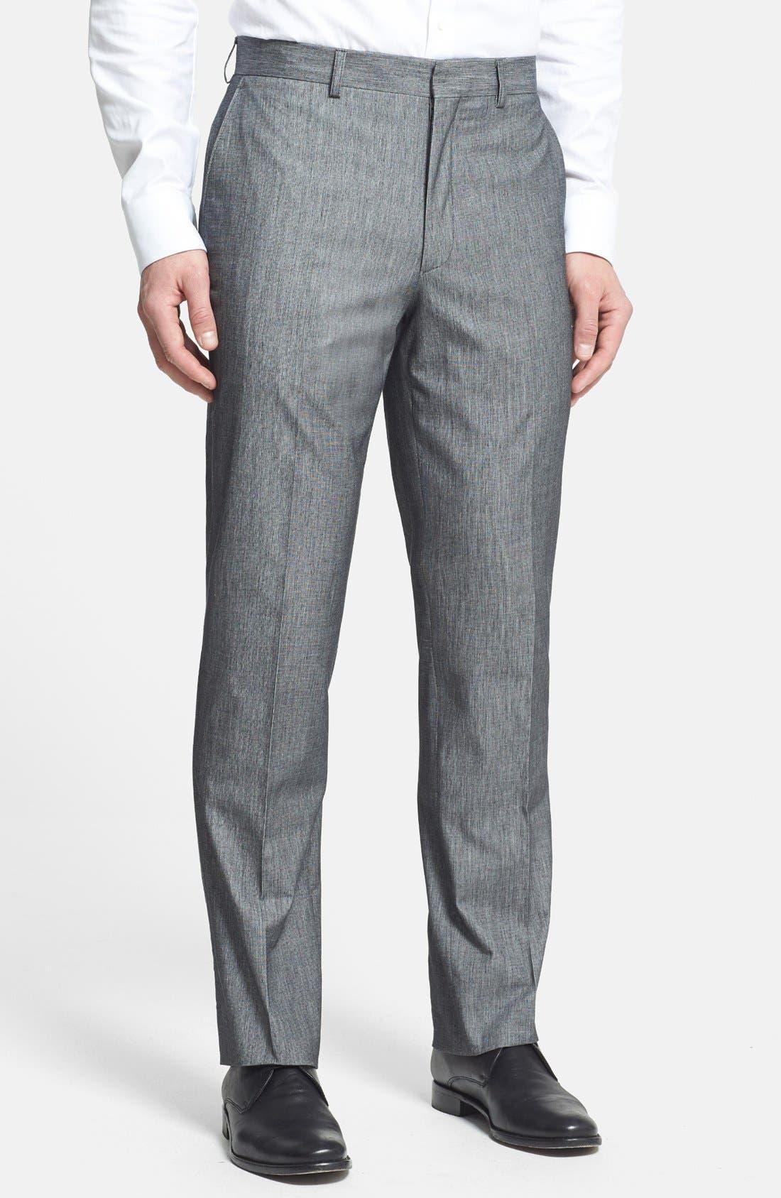 Main Image - Linea Naturale Trim Fit Flat Front Cotton Trousers (Nordstrom Exclusive)